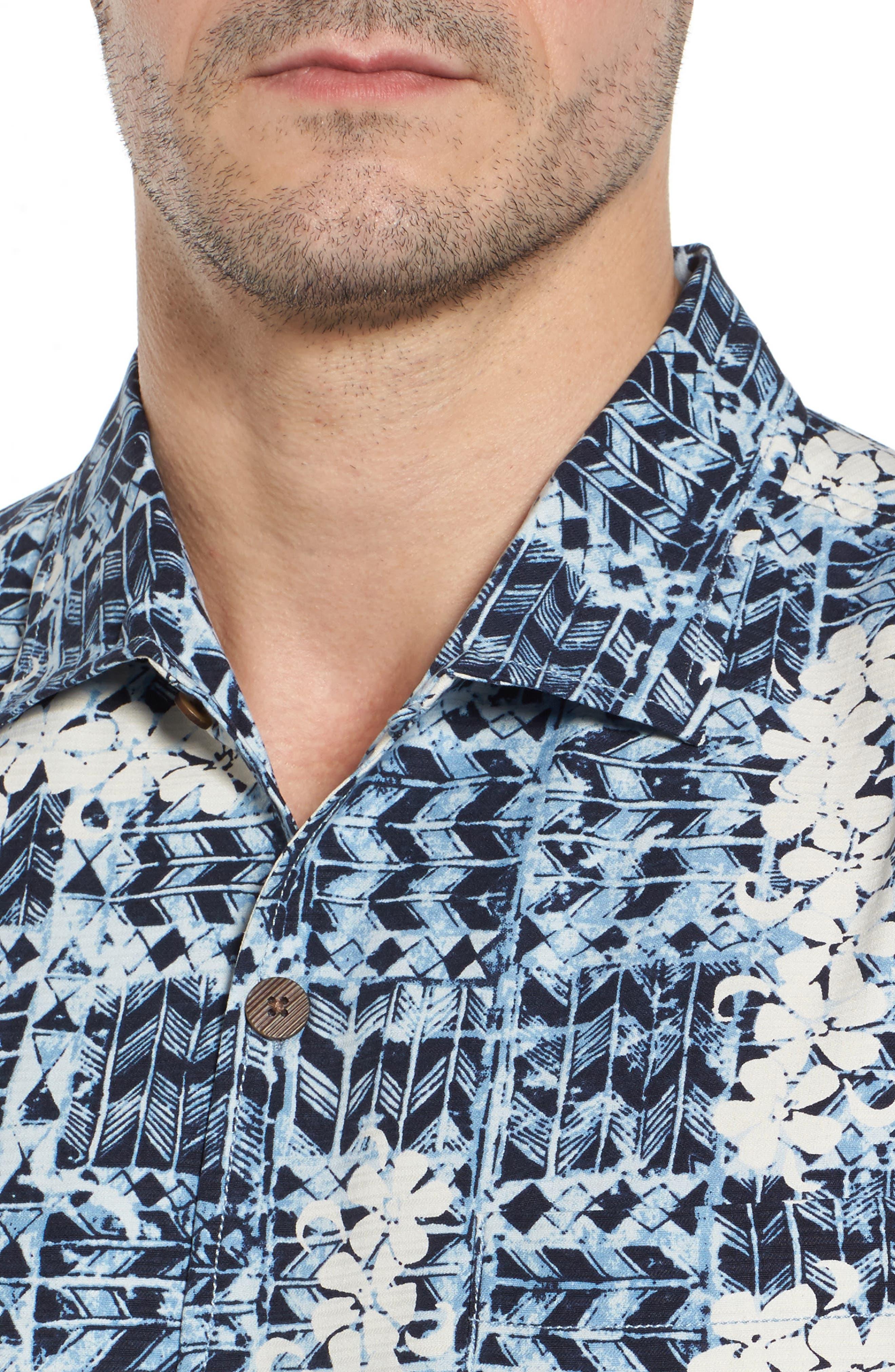 Olei Olei Silk Camp Shirt,                             Alternate thumbnail 4, color,                             Bering Blue