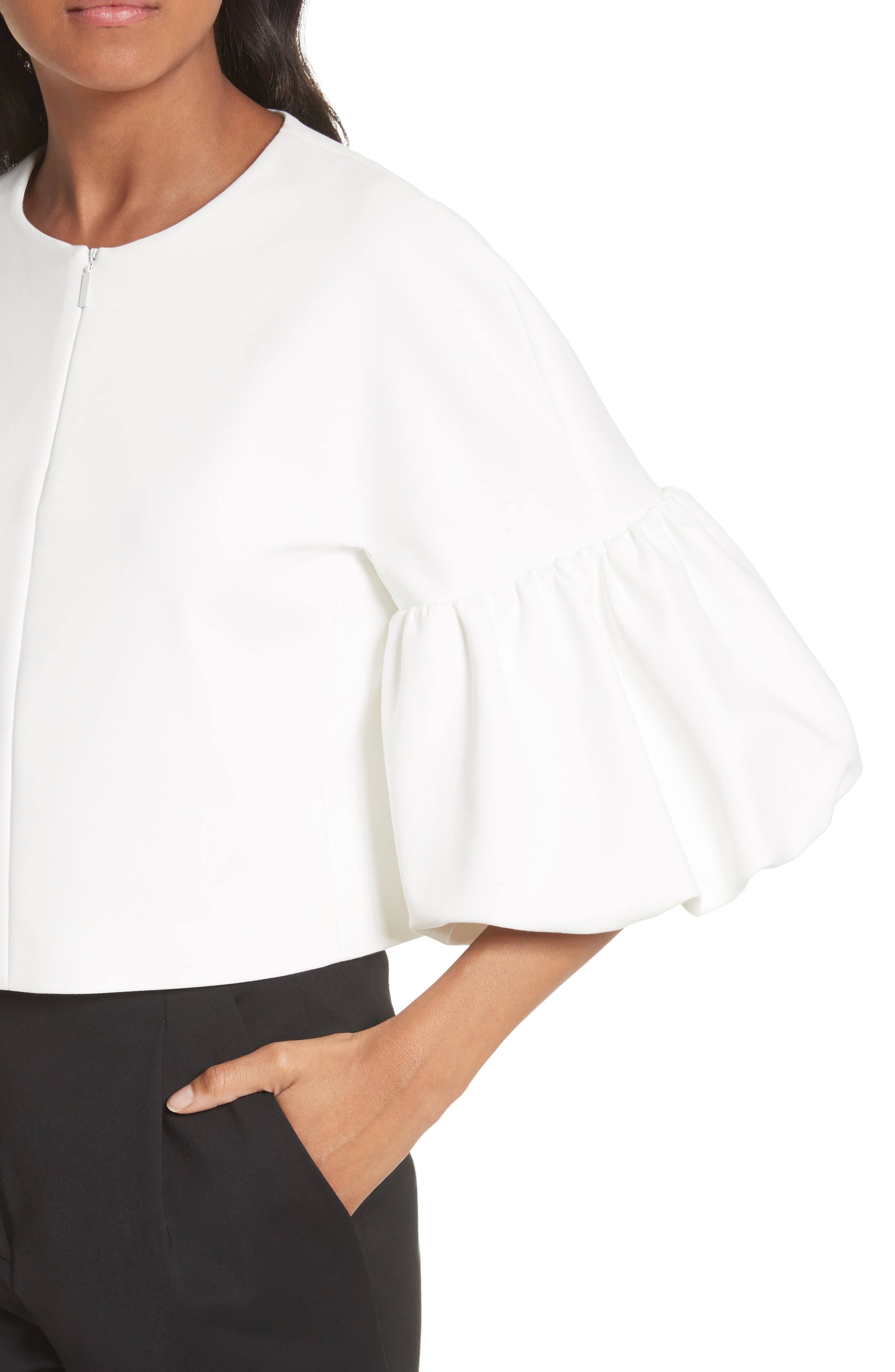 Balloon Sleeve Top,                             Alternate thumbnail 4, color,                             Ivory