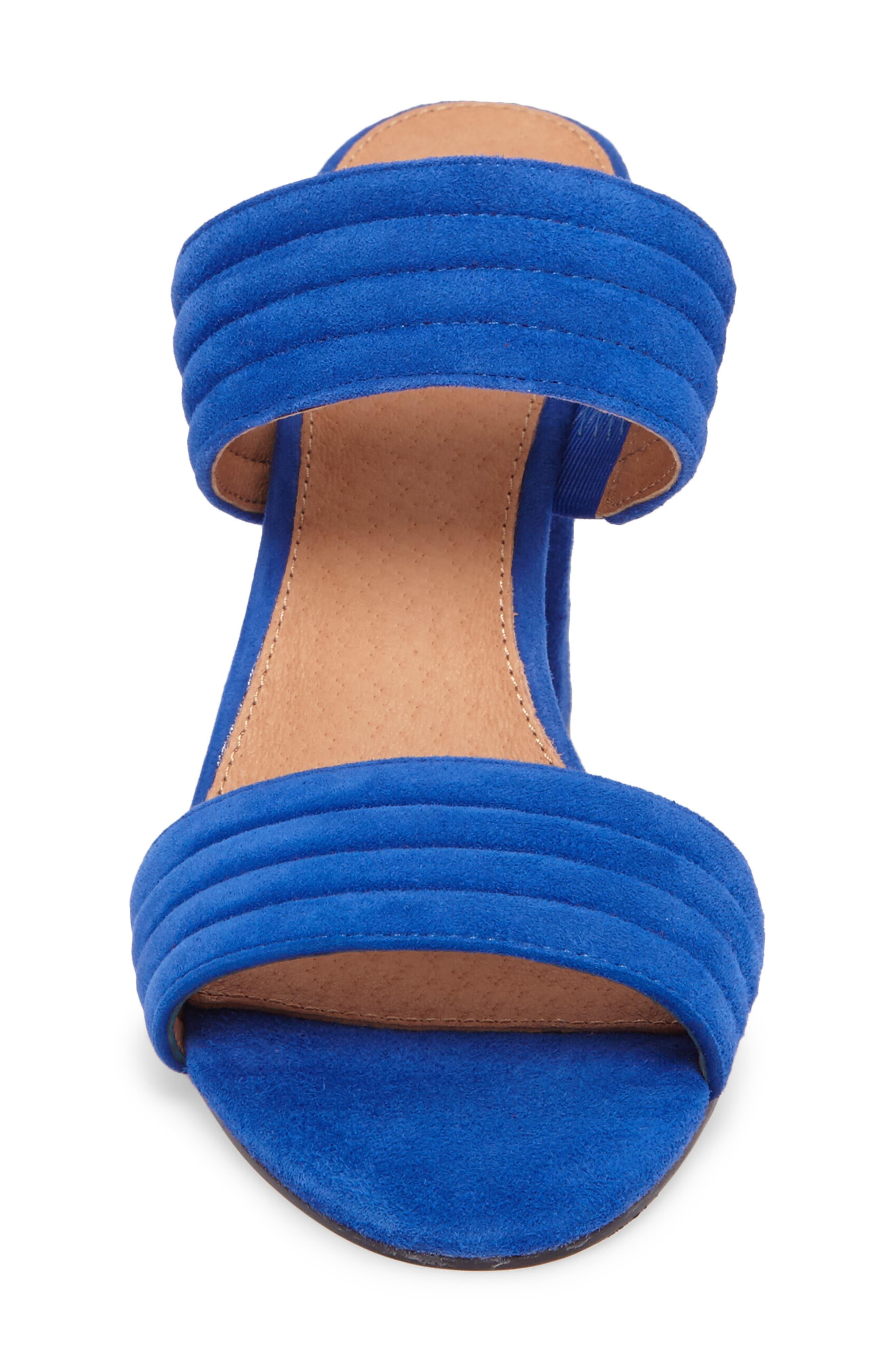 Della Slide Sandal,                             Alternate thumbnail 4, color,                             Cobalt Suede