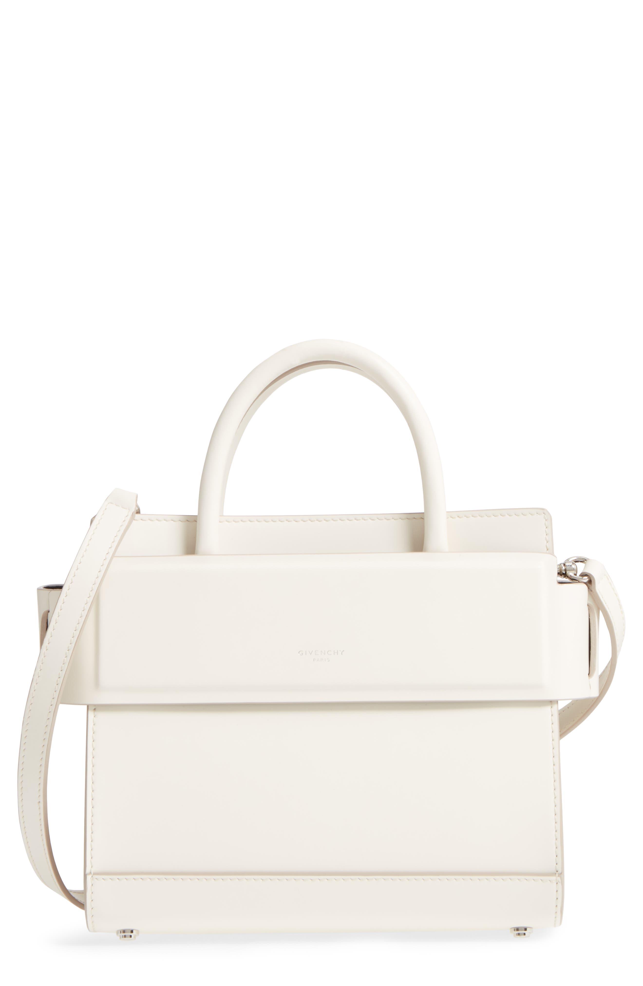 Mini Horizon Calfskin Leather Tote,                         Main,                         color, Off White