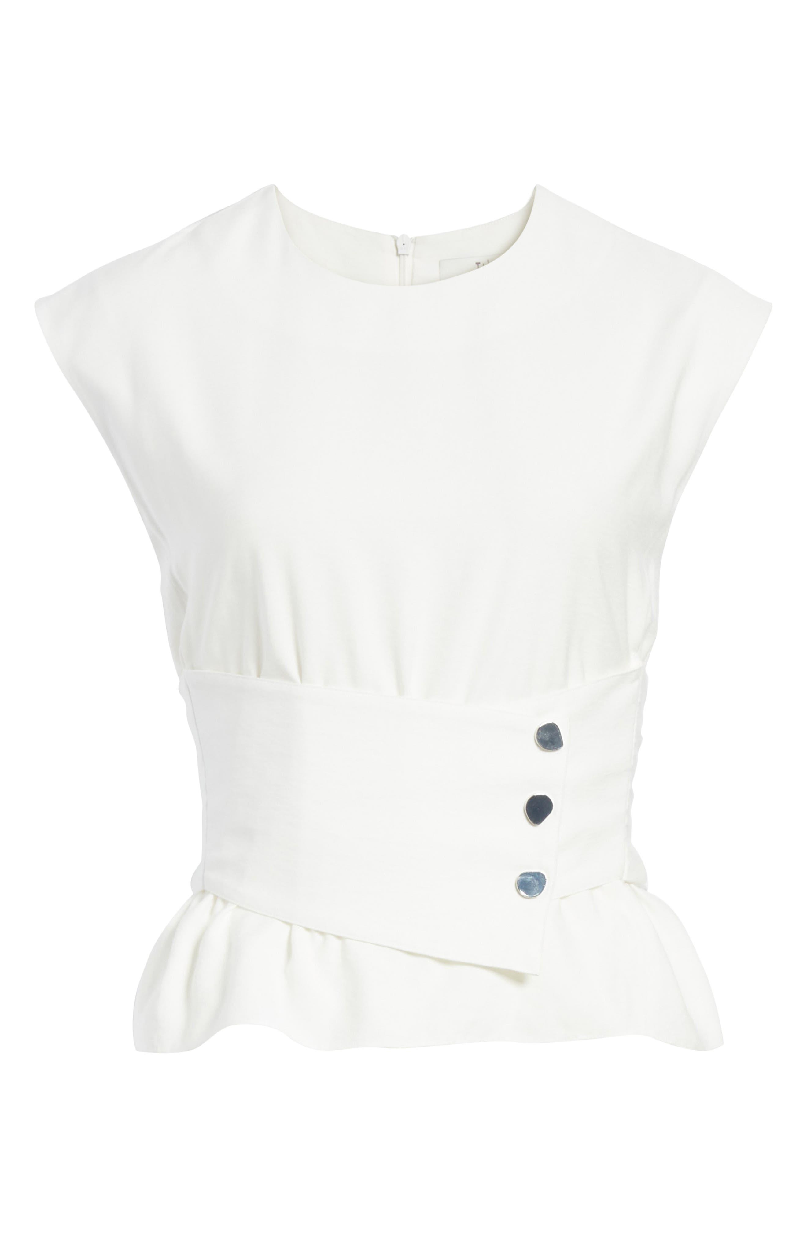 Sleeveless Corset Crop Top,                             Alternate thumbnail 6, color,                             White