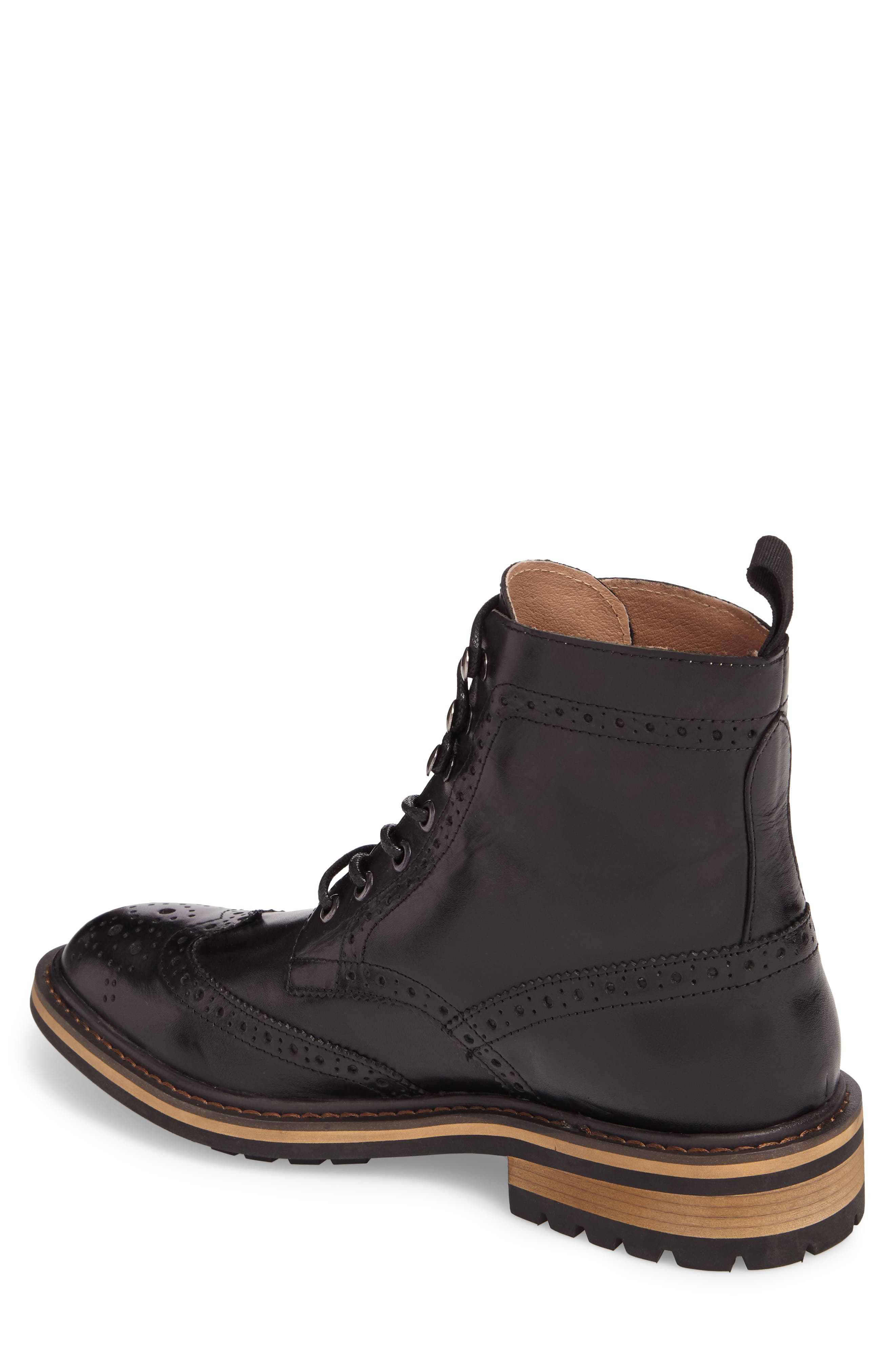 Grange Wingtip Boot,                             Alternate thumbnail 2, color,                             Black Smooth Leather