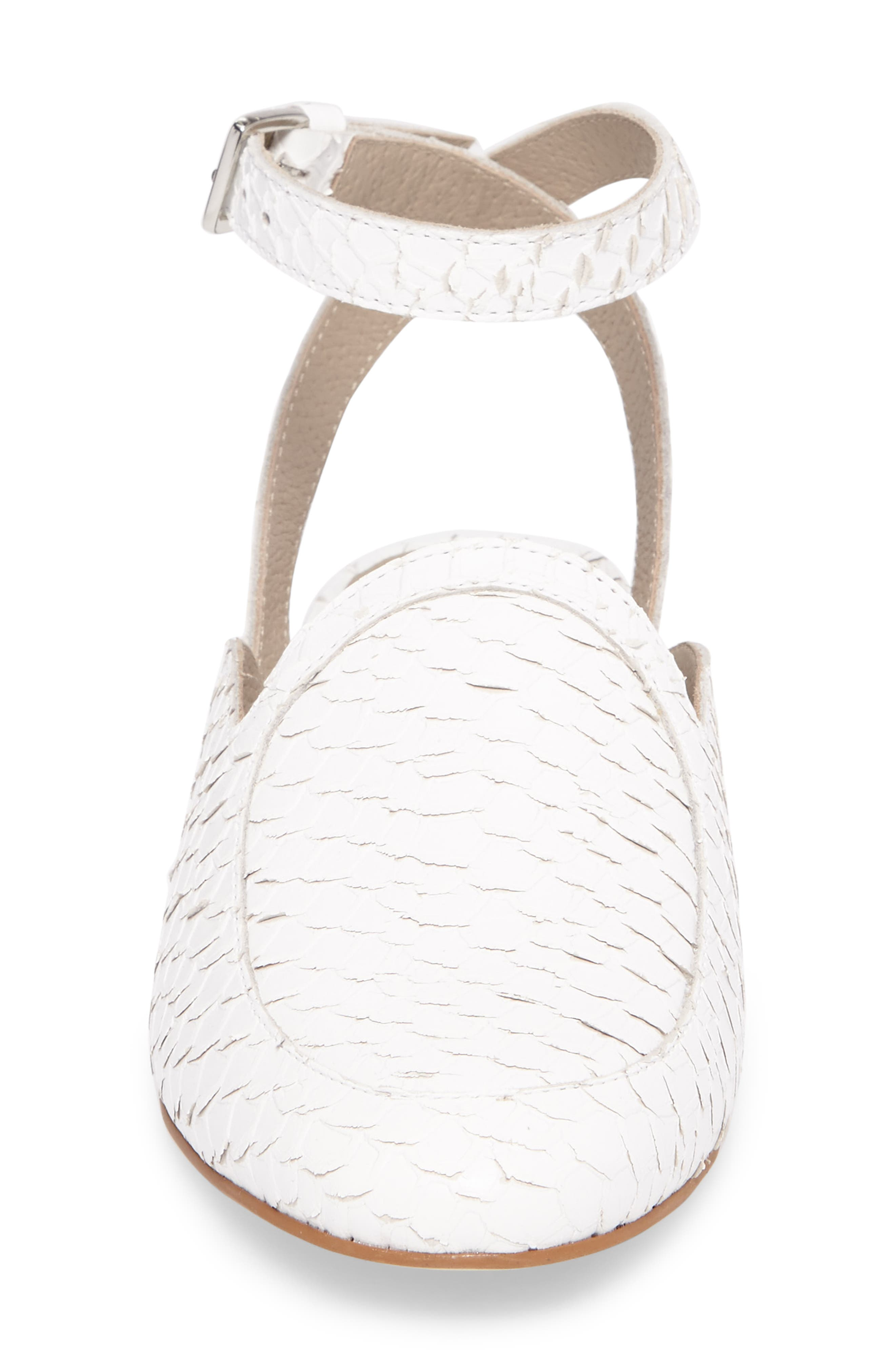 Half Moon Ankle Strap Loafer,                             Alternate thumbnail 4, color,                             White Leather