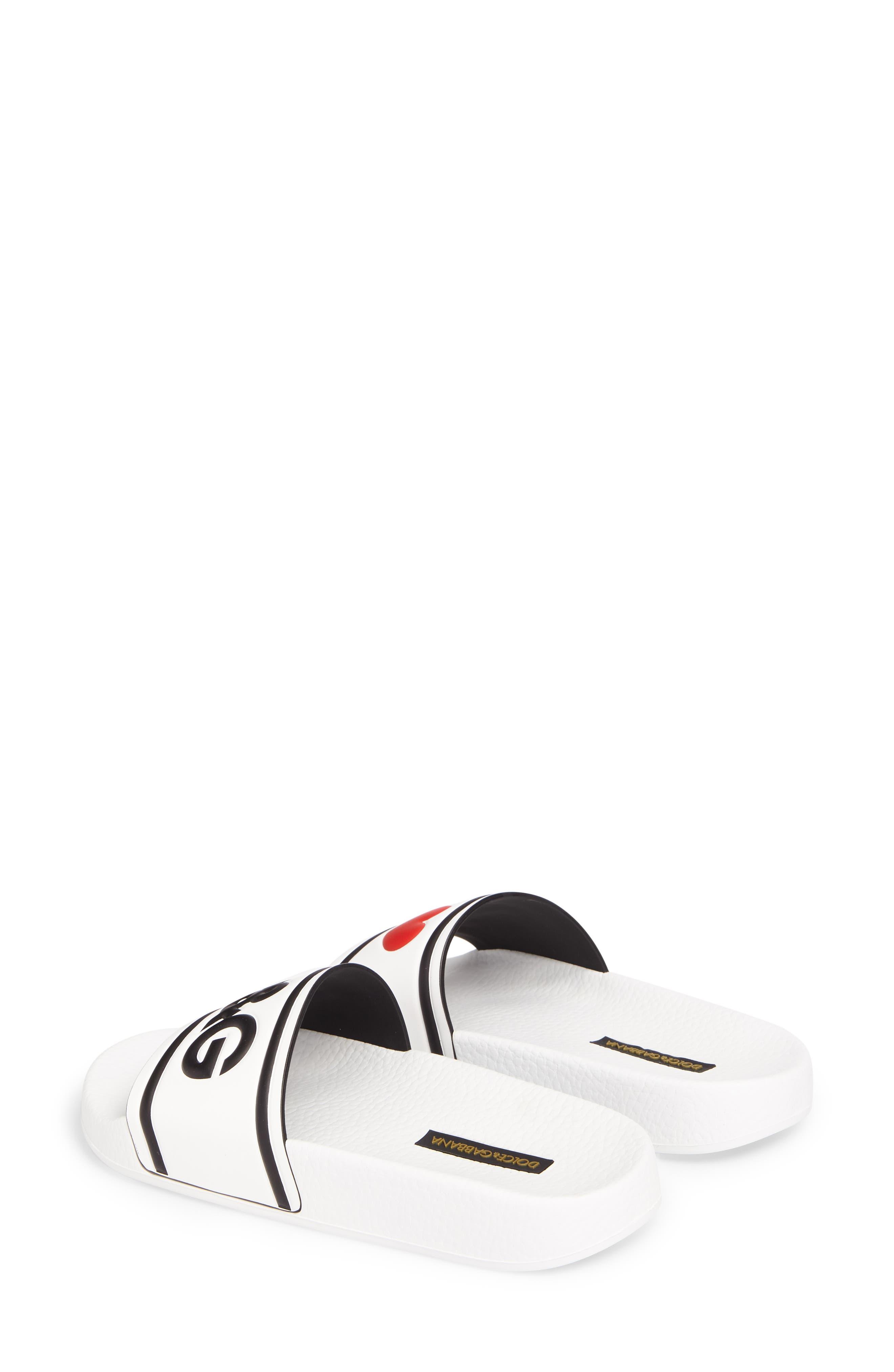I Love DG Slide Sandal,                             Alternate thumbnail 3, color,                             White