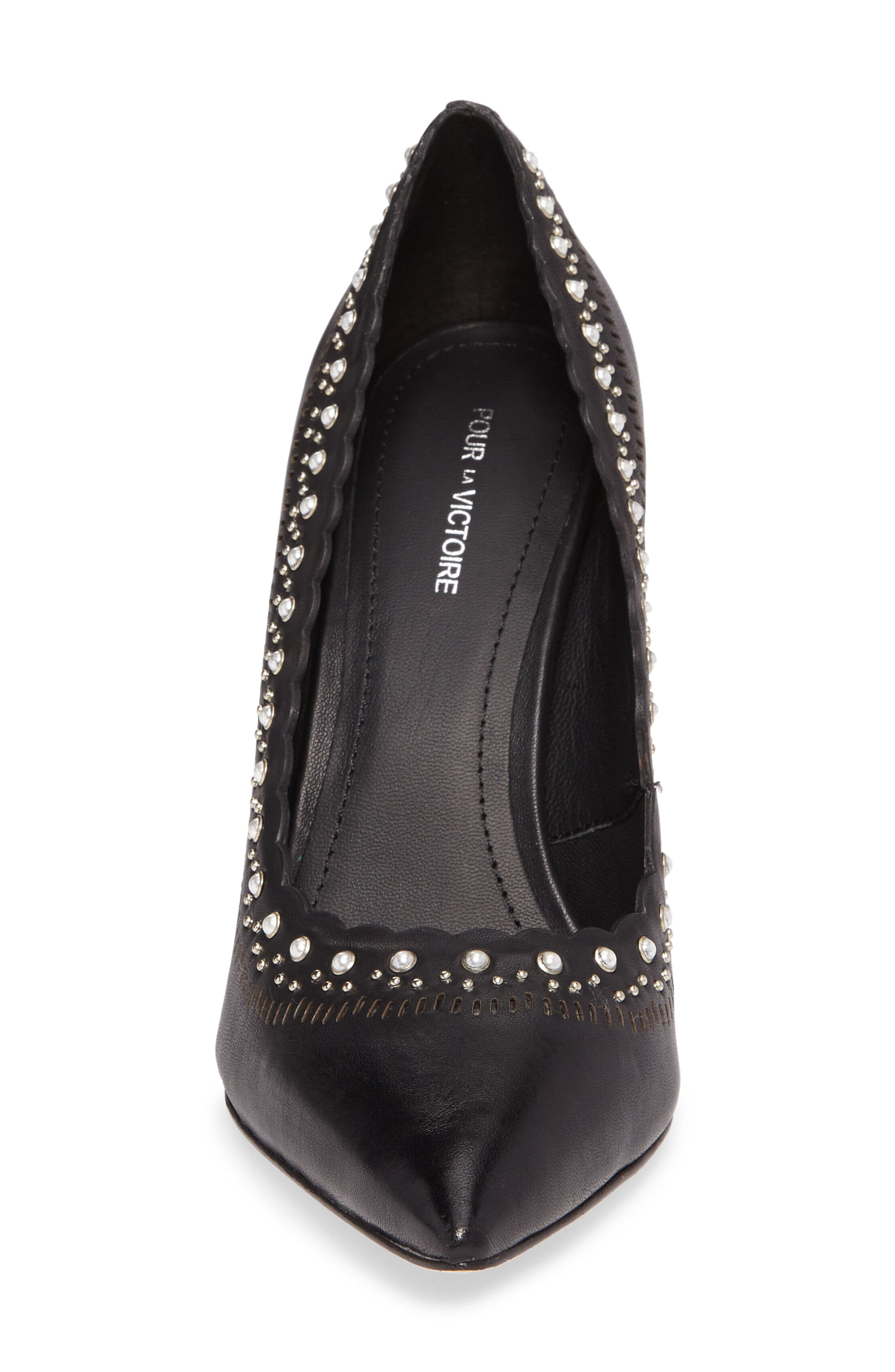 Cerella Embellished Pump,                             Alternate thumbnail 4, color,                             Black Leather
