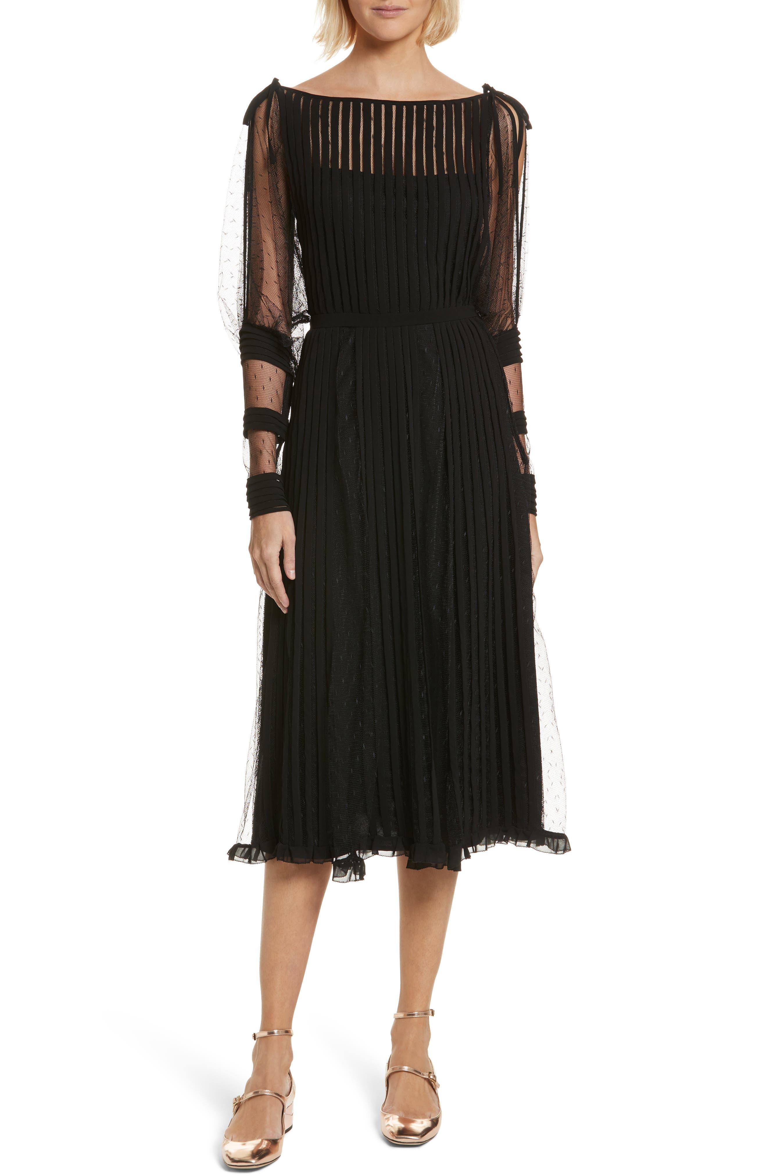 Point d'Esprit & Georgette Midi Dress,                         Main,                         color, Black
