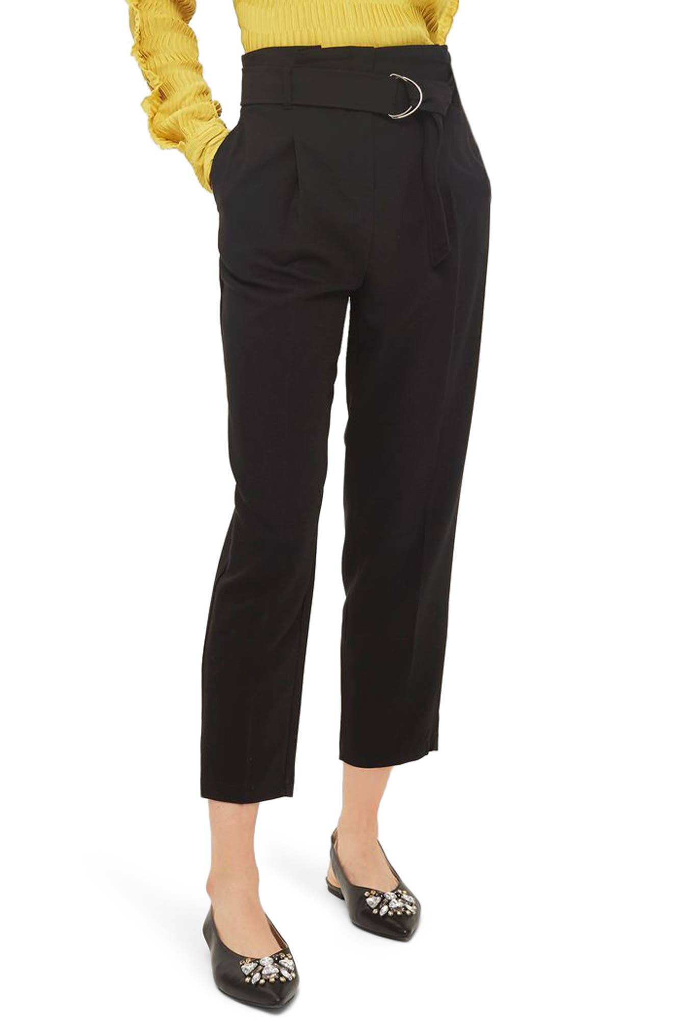 Belted Paperbag Peg Trousers,                             Main thumbnail 1, color,                             Black
