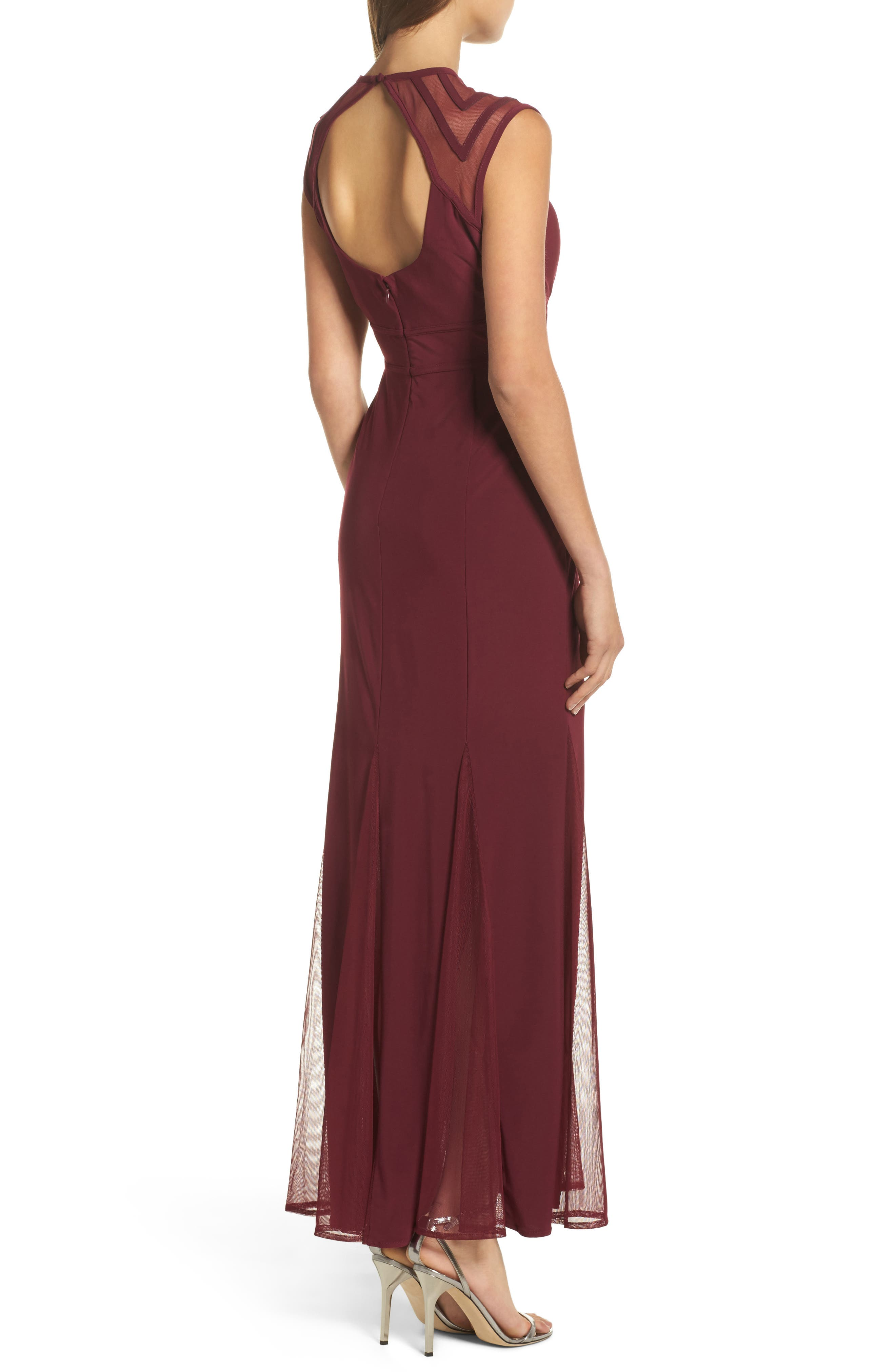 Alternate Image 2  - Morgan & Co. Mesh Inset Open Back Gown