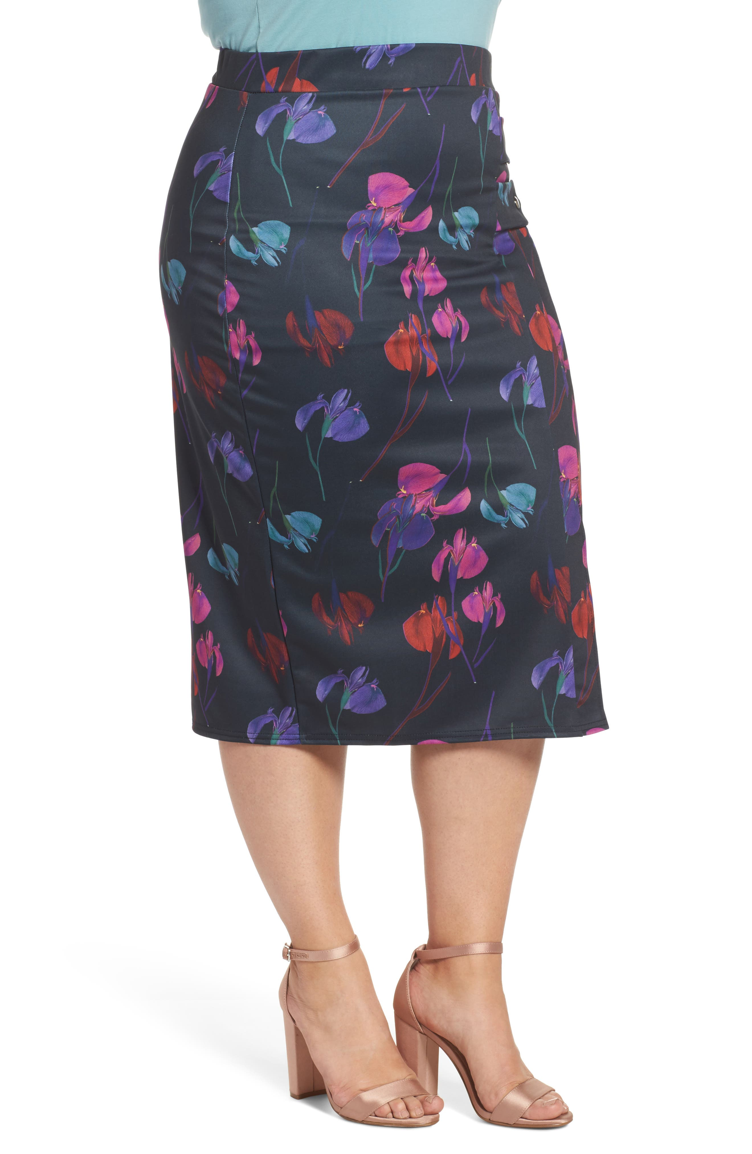 Alternate Image 3  - LOST INK Rainbow Orchid Pencil Skirt (Plus Size)
