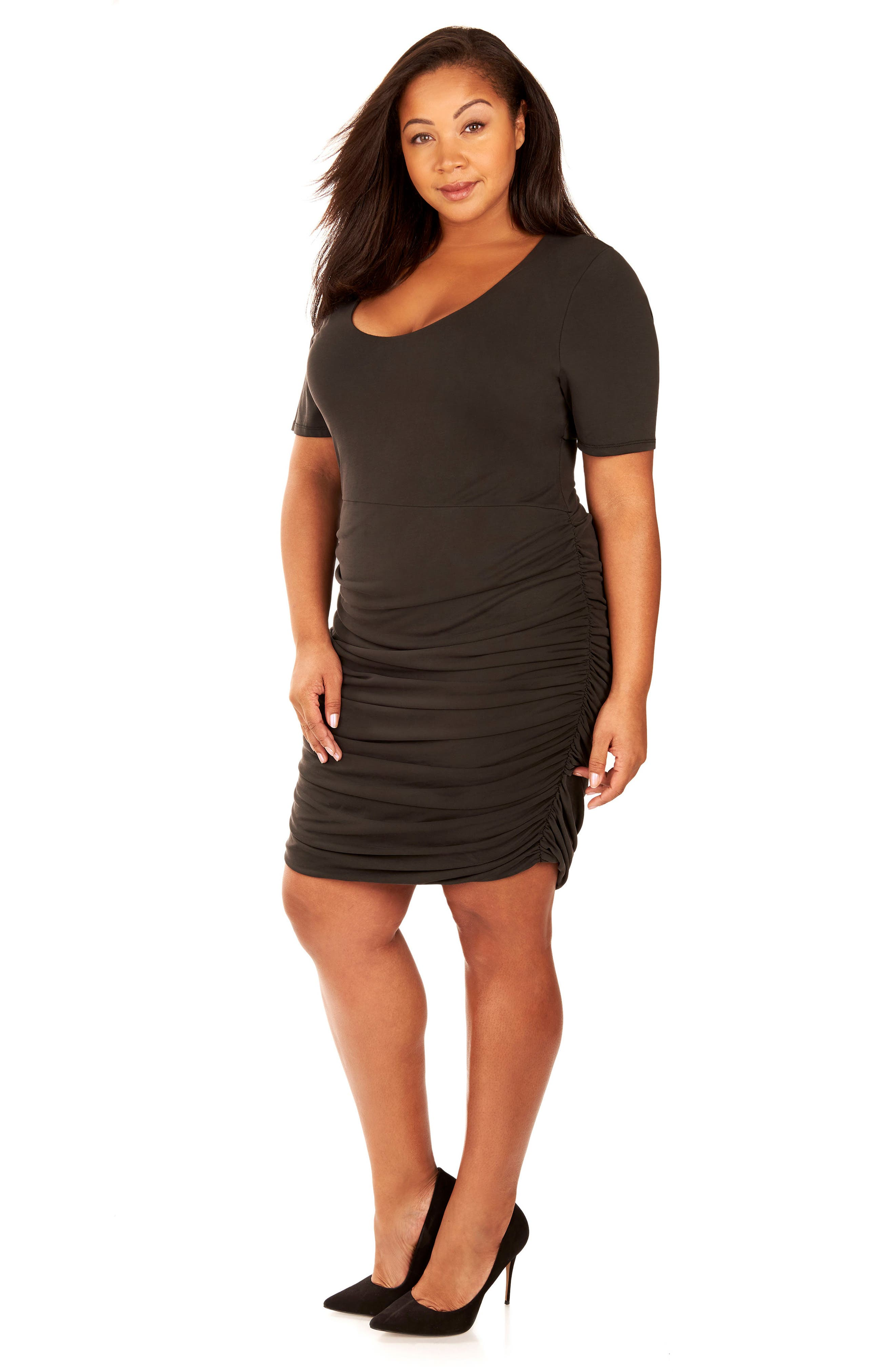 Ruched Sandwashed Jersey Dress,                             Alternate thumbnail 2, color,                             Black Beauty
