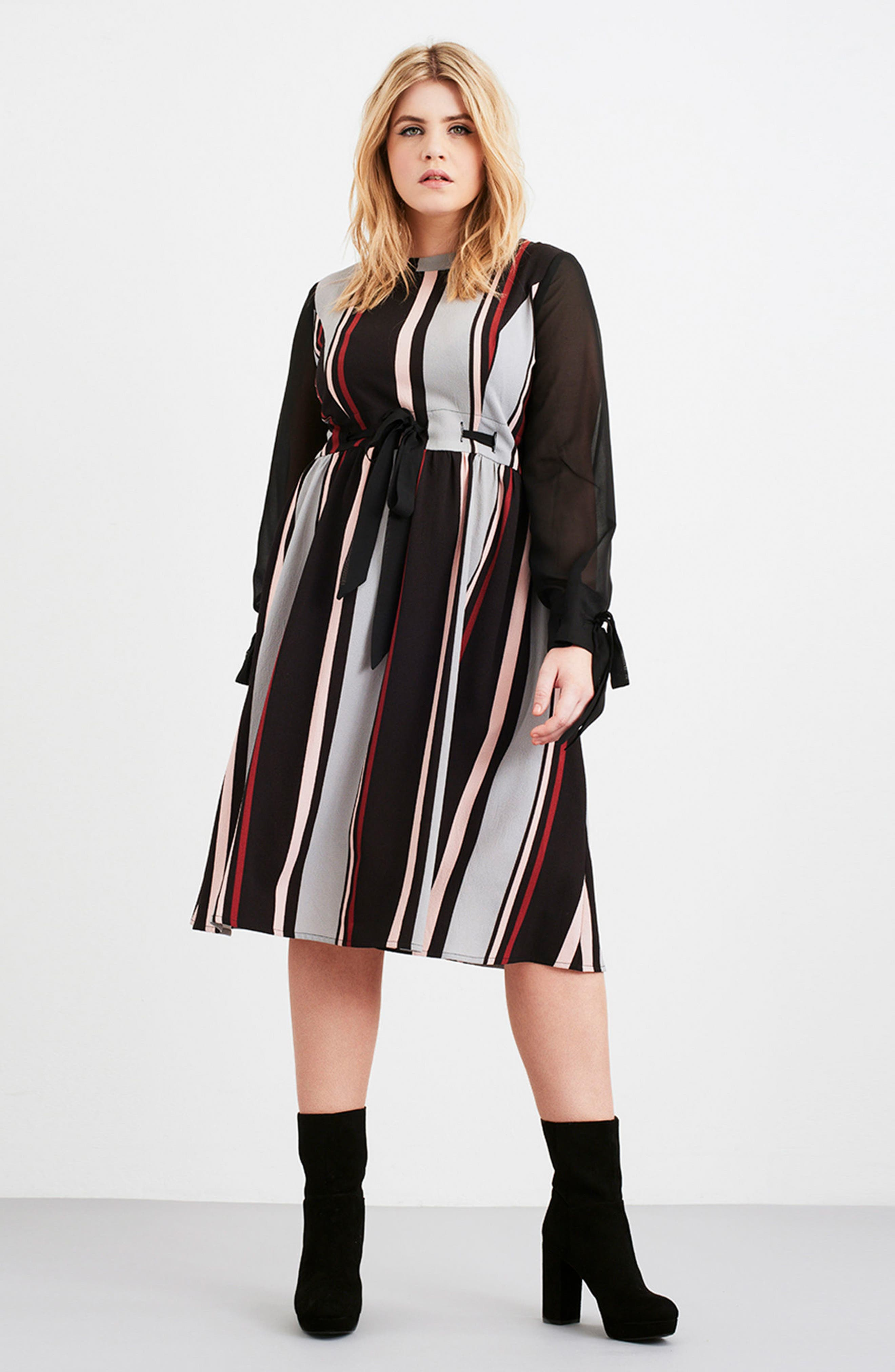 Alternate Image 2  - LOST INK Stripe Fit & Flare Dress (Plus Size)