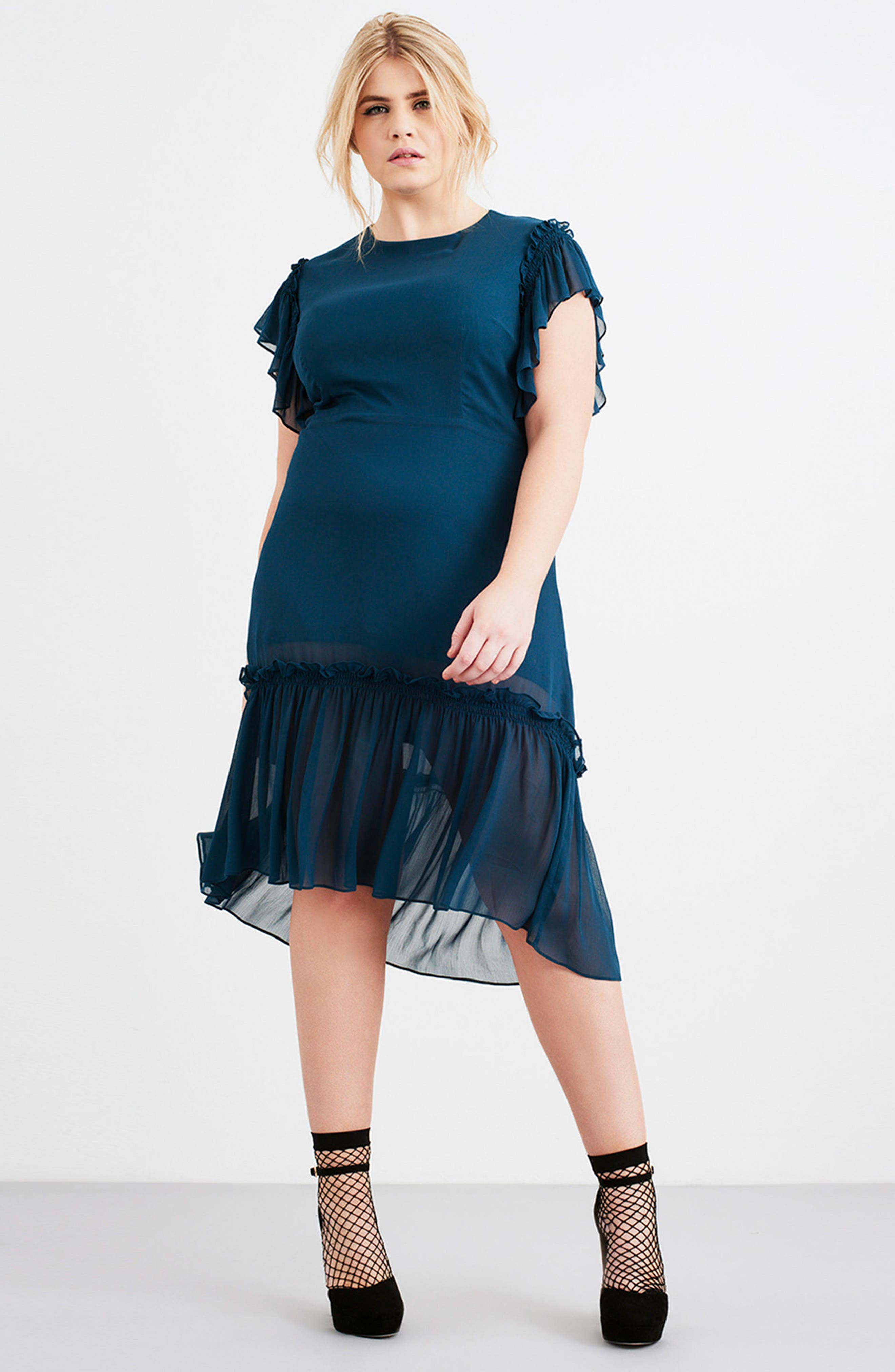 Ruffled High/Low A-Line Dress,                             Alternate thumbnail 2, color,                             Green
