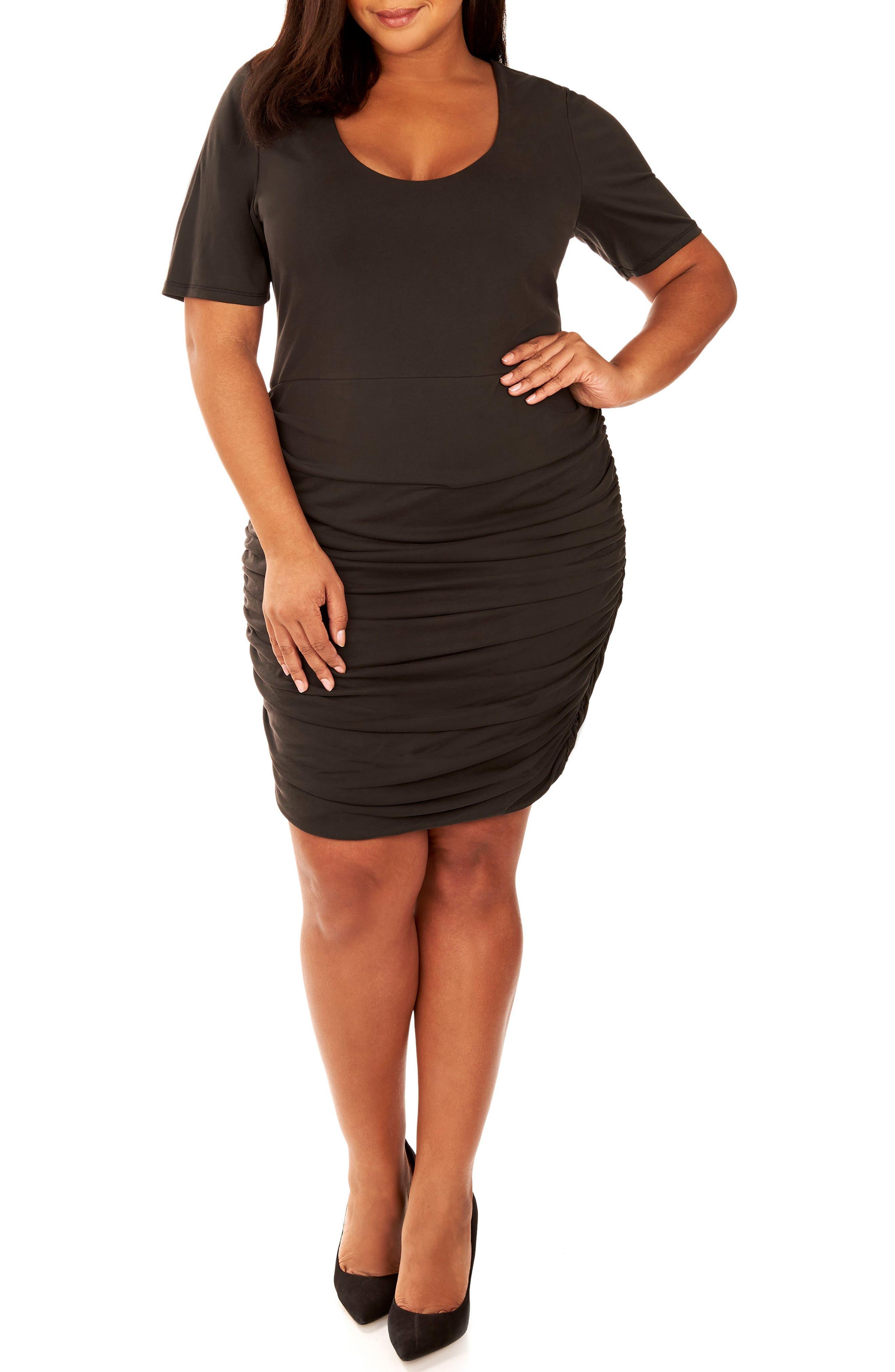 Ruched Sandwashed Jersey Dress,                         Main,                         color, Black Beauty