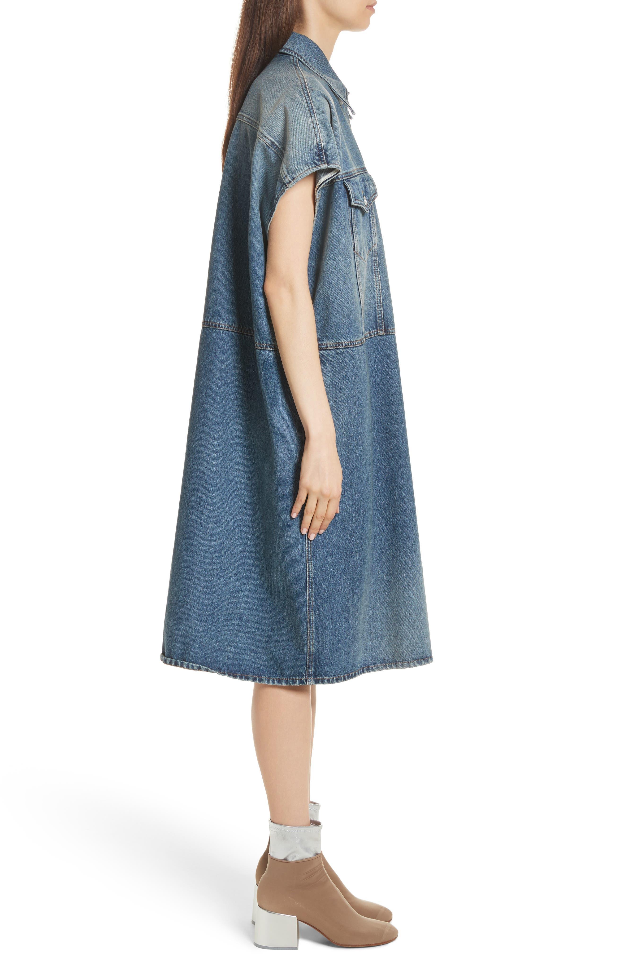 Denim Dress,                             Alternate thumbnail 3, color,                             Indigo Stone Wash