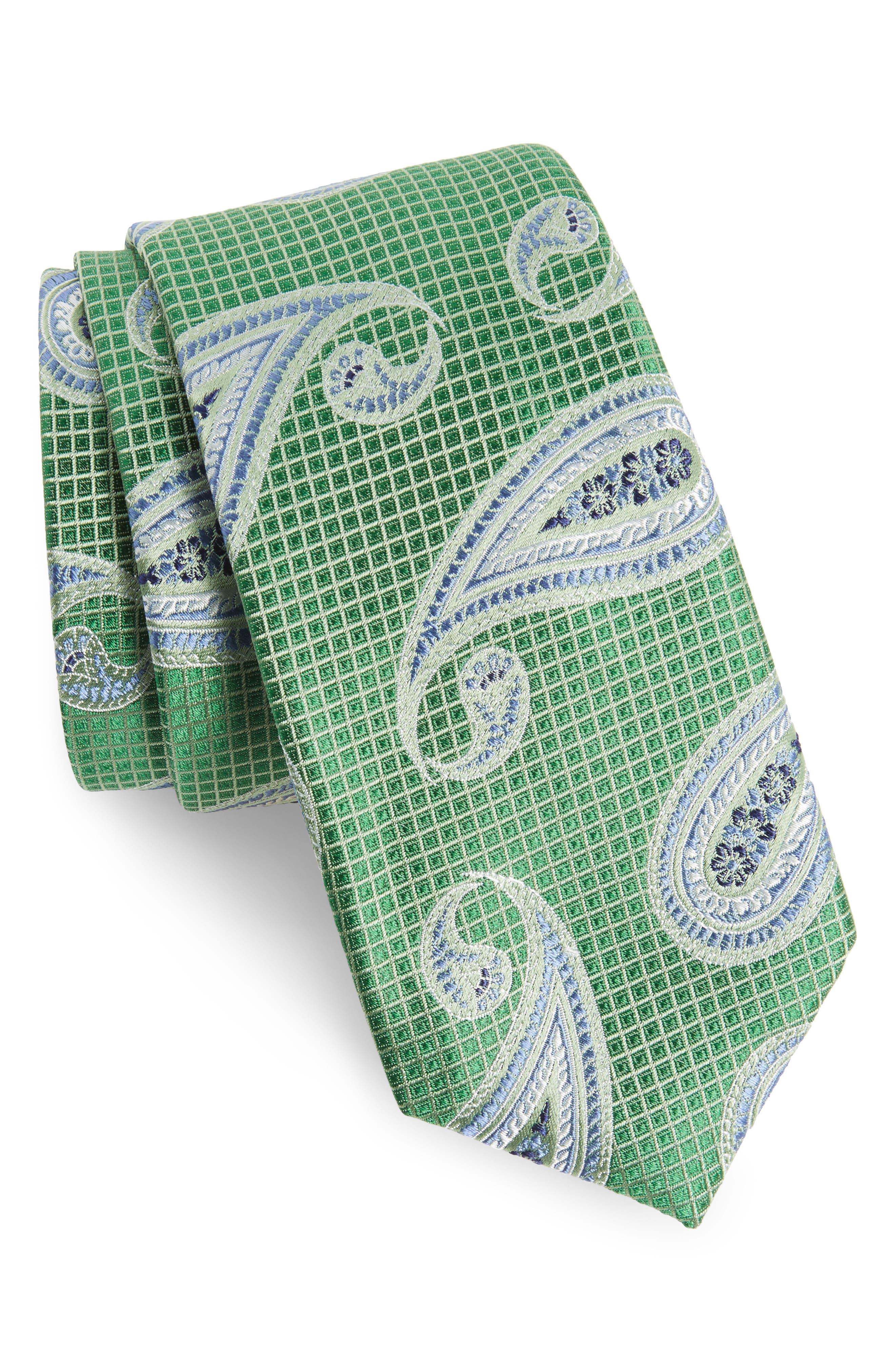 Paisley Silk Tie,                         Main,                         color, Green