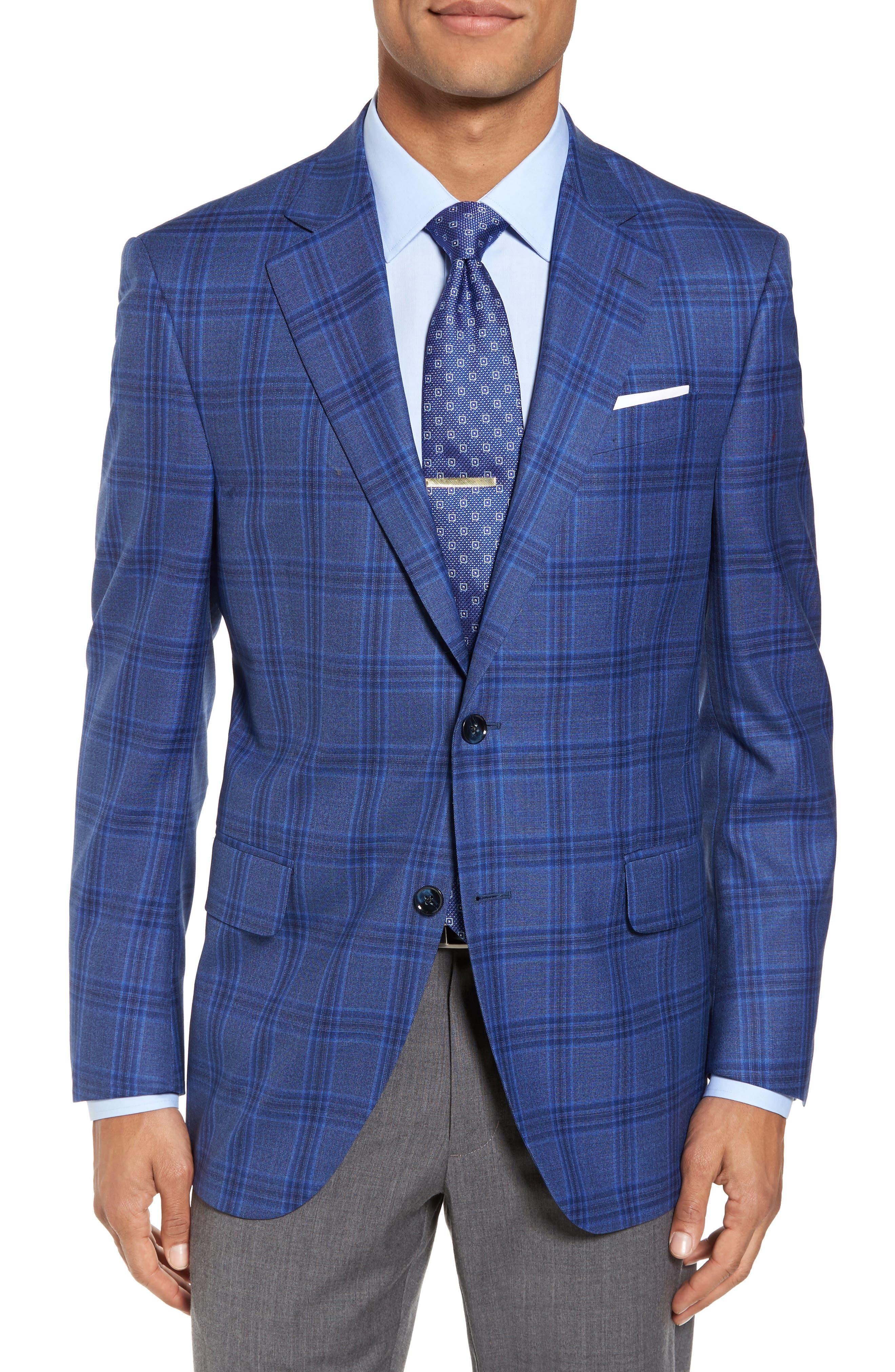 Classic Fit Plaid Wool Sport Coat,                             Main thumbnail 1, color,                             Blue