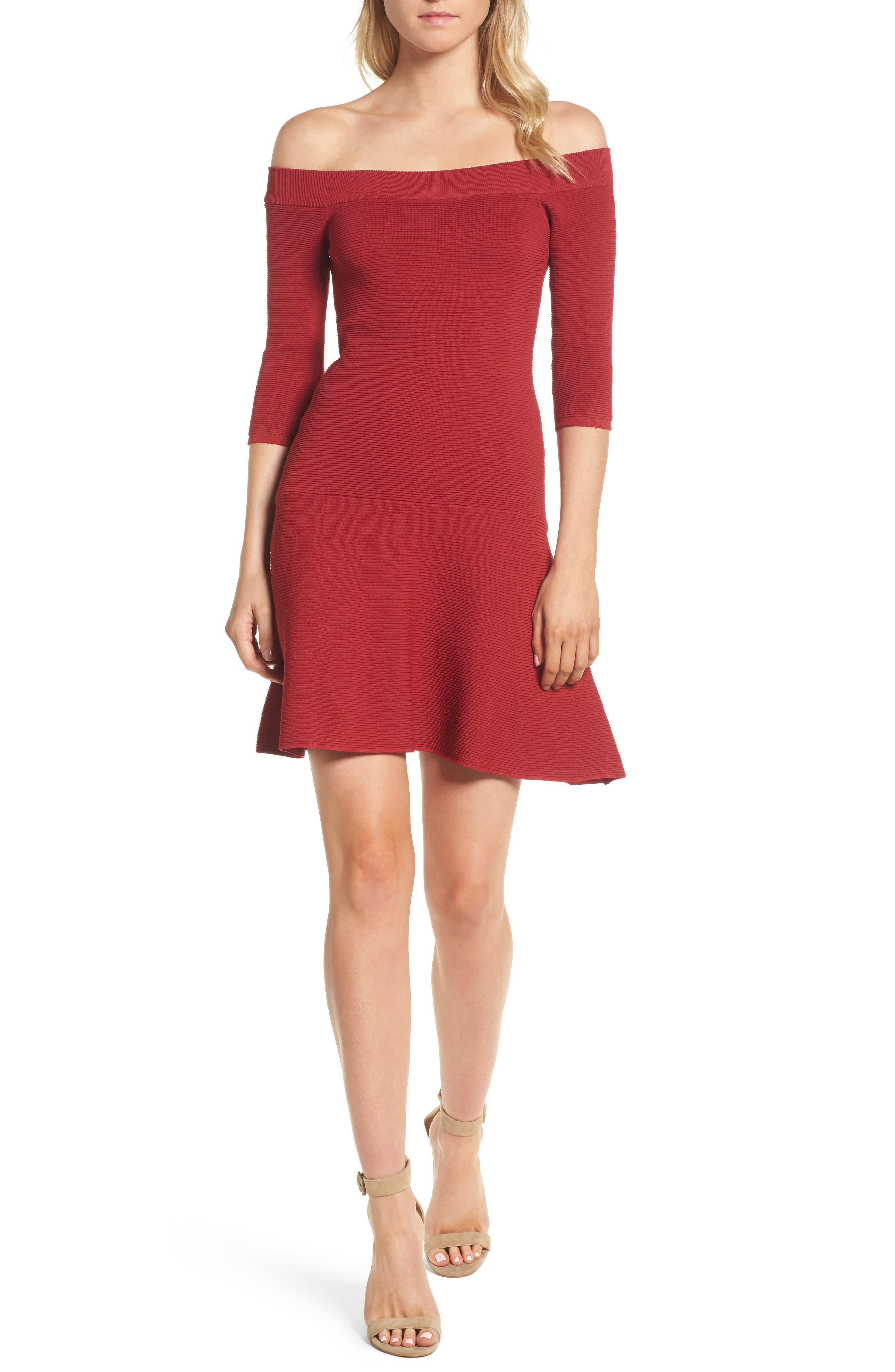 Whitley Off the Shoulder Dress,                             Main thumbnail 1, color,                             Crimson