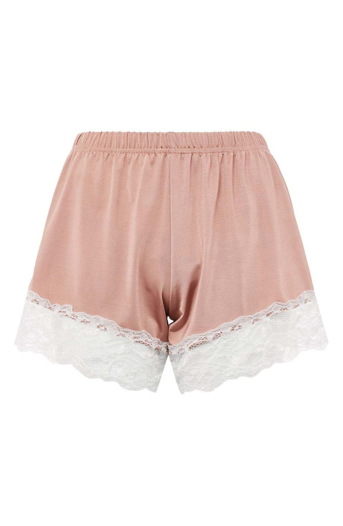 Satin & Lace Pajama Shorts,                             Alternate thumbnail 3, color,                             Nude
