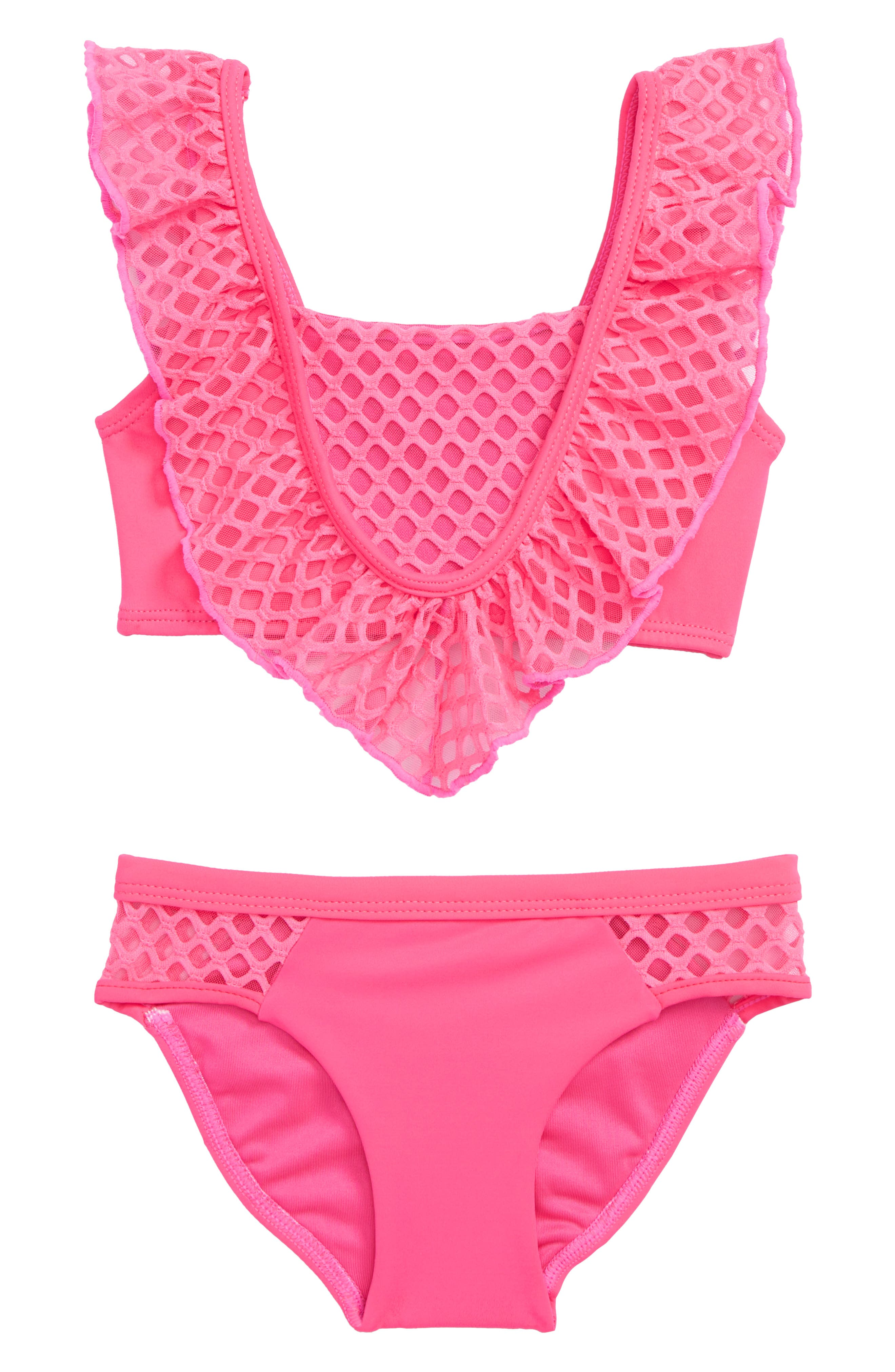 Blake Ruffle Two-Piece Swimsuit,                             Main thumbnail 1, color,                             Neon Pink