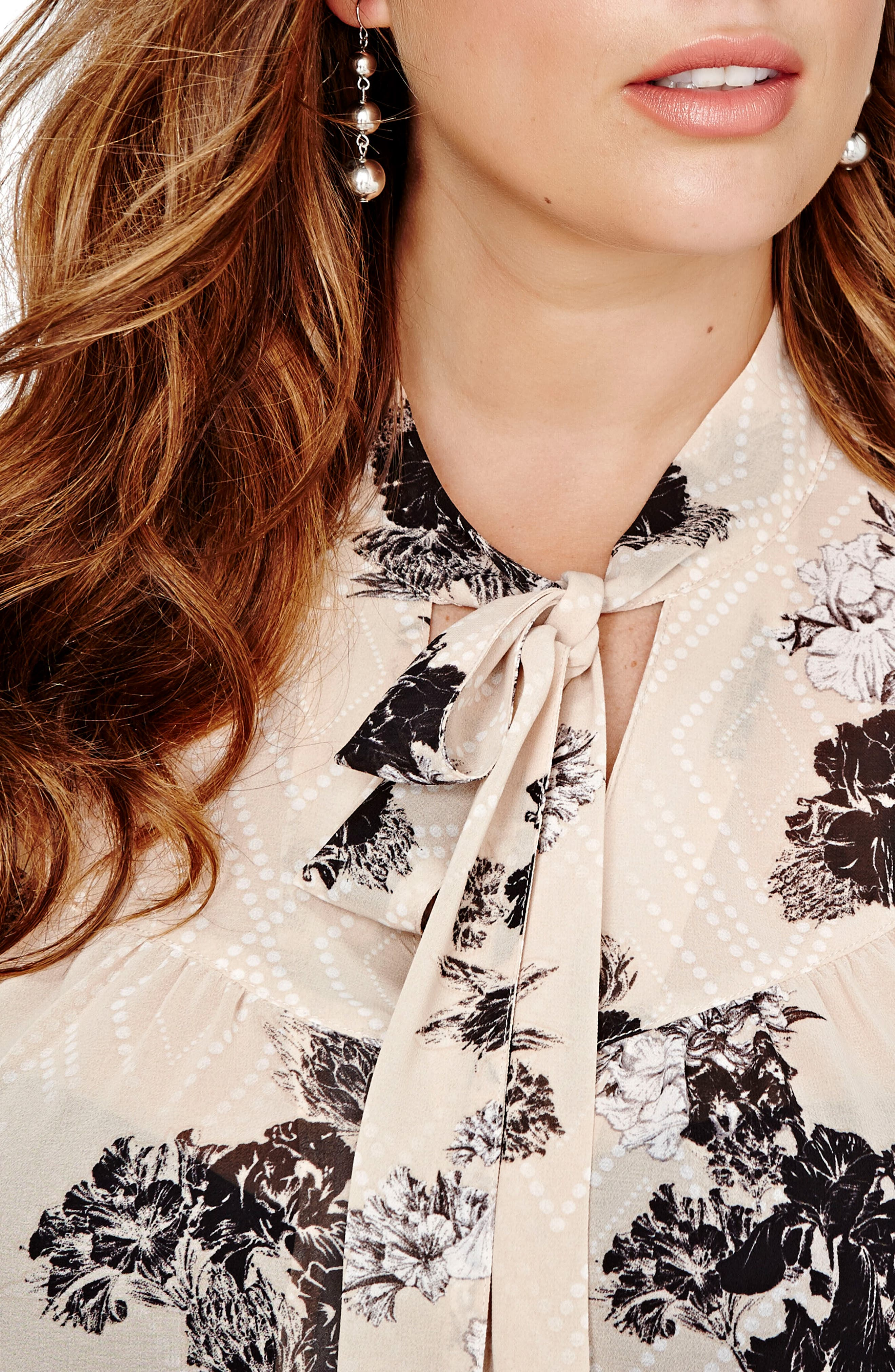 Floral Print Bell Sleeve Top,                             Alternate thumbnail 3, color,                             Moonlight Combo