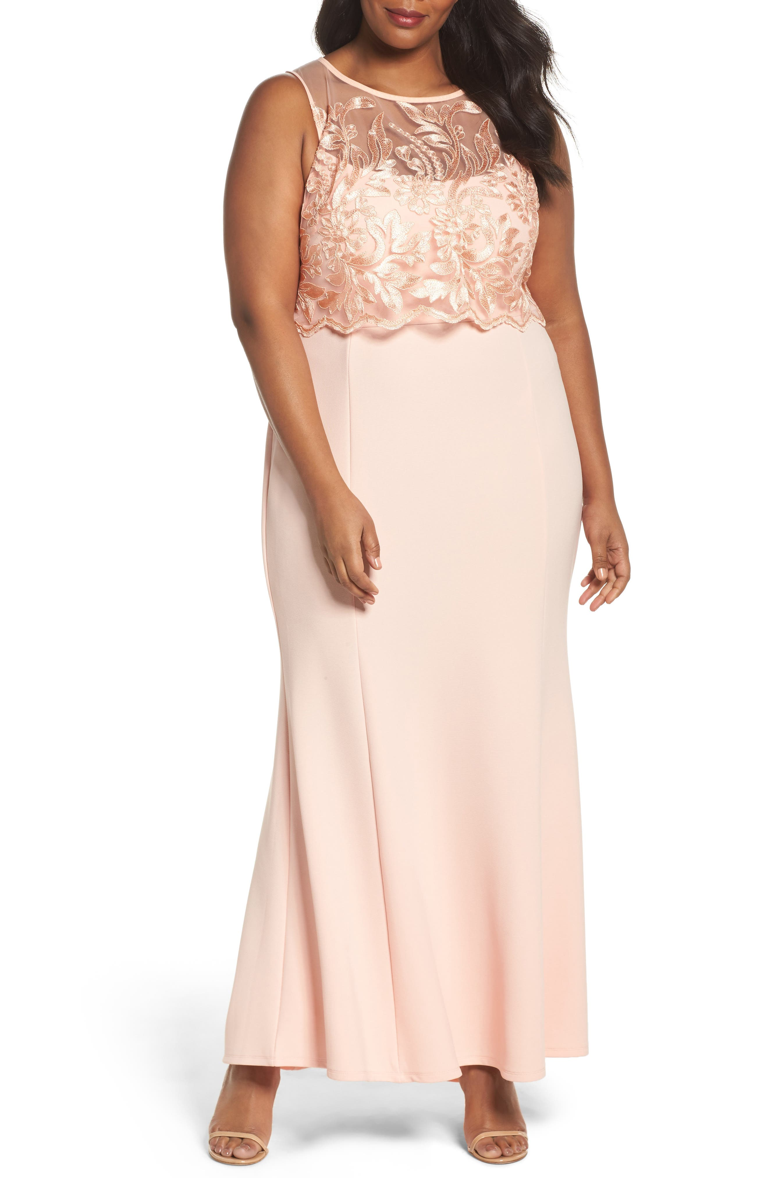 Main Image - Marina Popover Lace Gown (Plus Size)