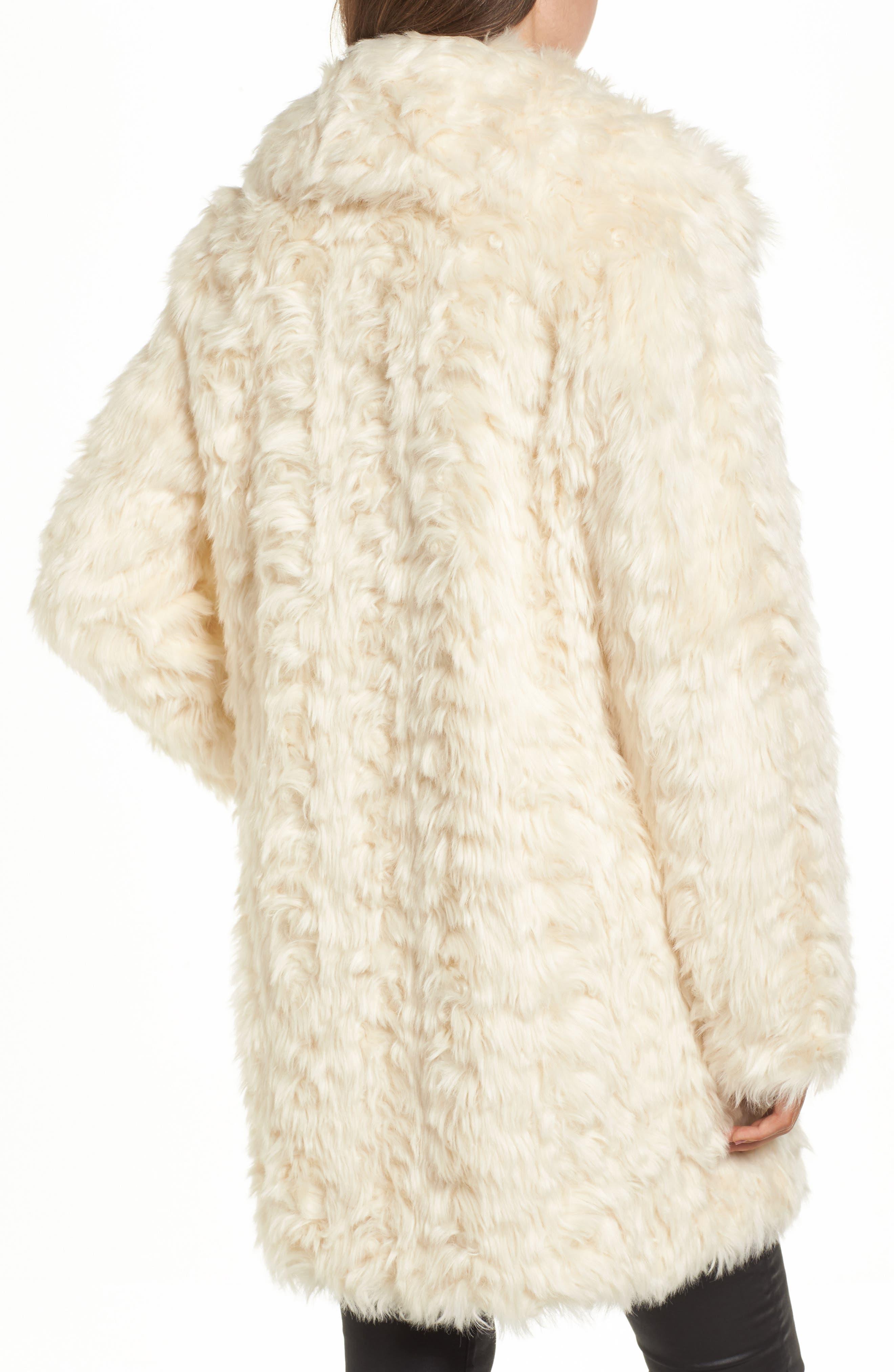 Curly Faux Fur Coat,                             Alternate thumbnail 2, color,                             Ivory