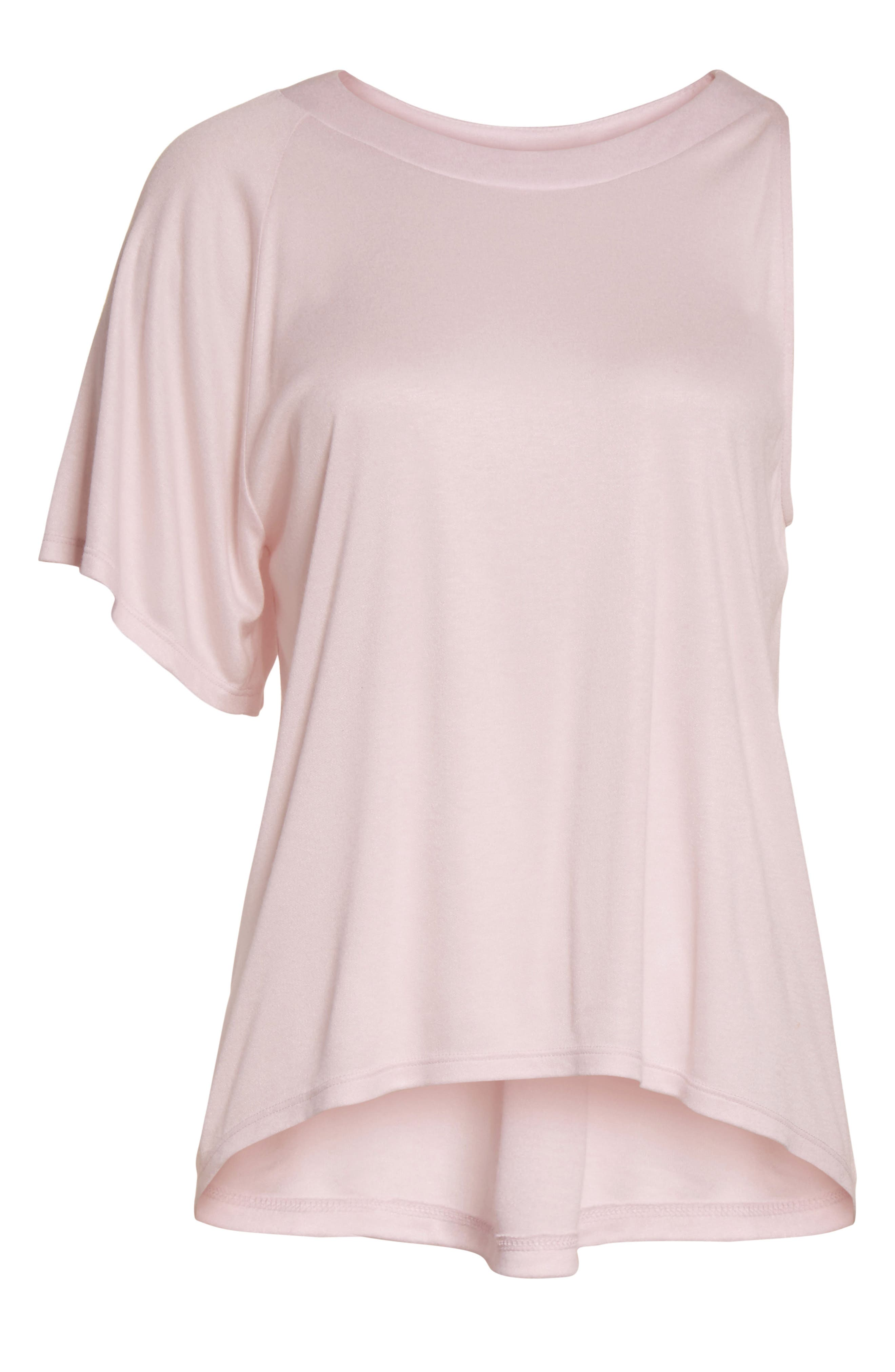 Willow Shine Jersey One-Shoulder Top,                             Alternate thumbnail 6, color,                             Pale Pink