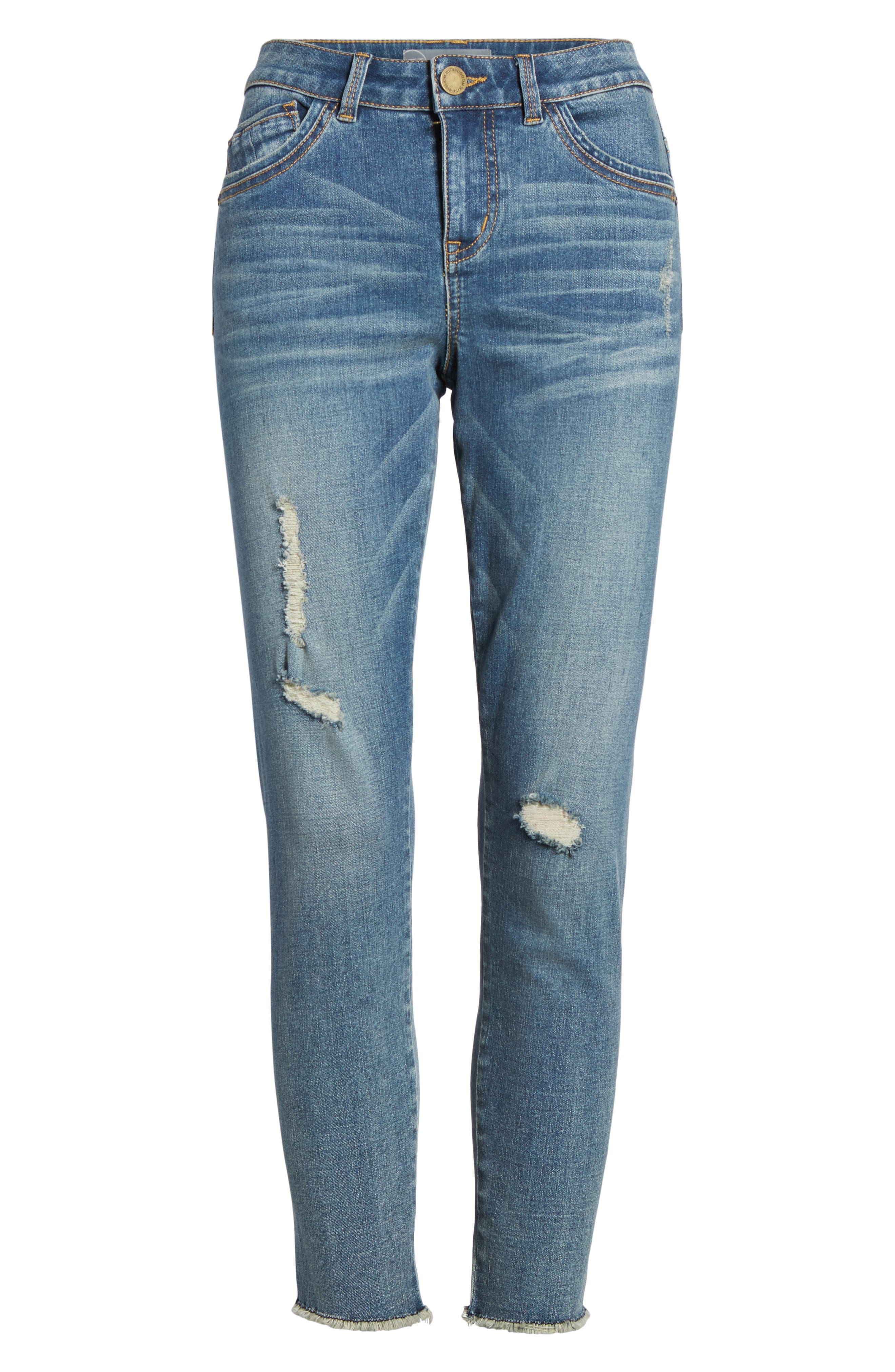 Ripped Seamless Ankle Jeans,                             Alternate thumbnail 7, color,                             Blue