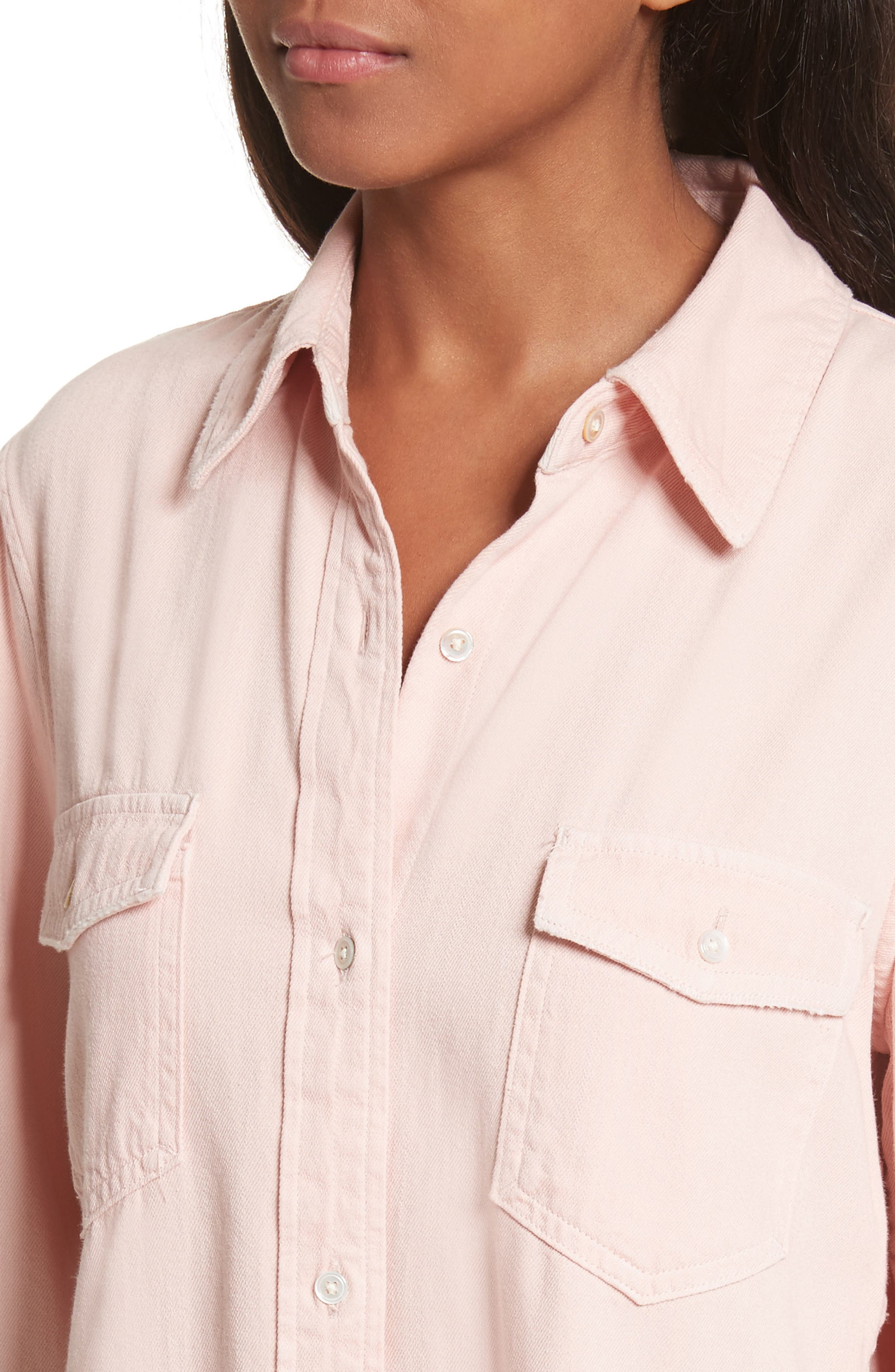 Denim Military Shirt,                             Alternate thumbnail 4, color,                             Faded Light Pink Exclusive