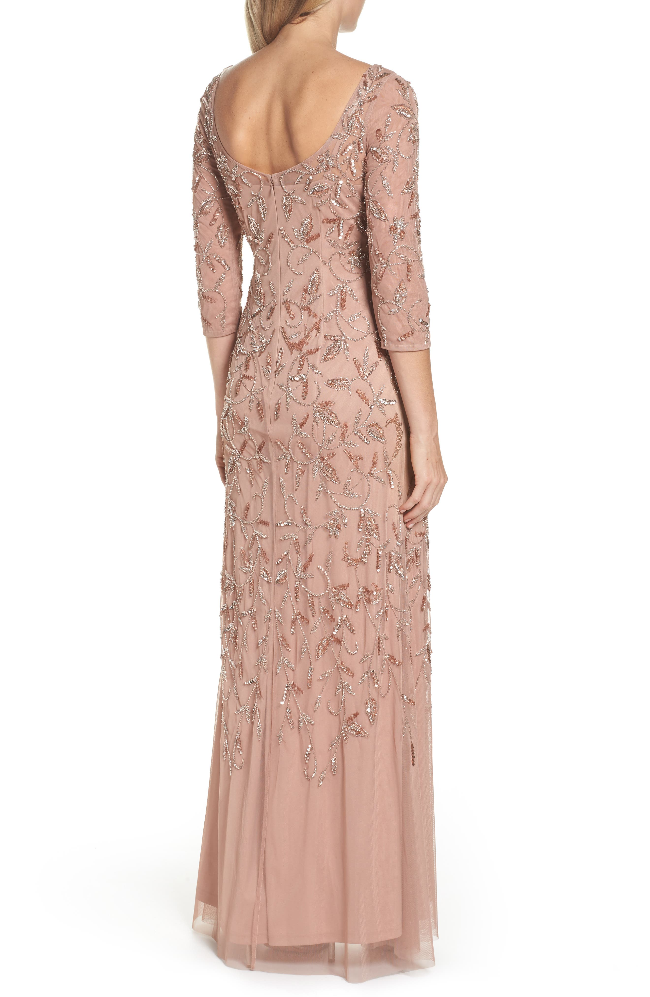 Beaded A-Line Gown,                             Alternate thumbnail 2, color,                             Rose Gold
