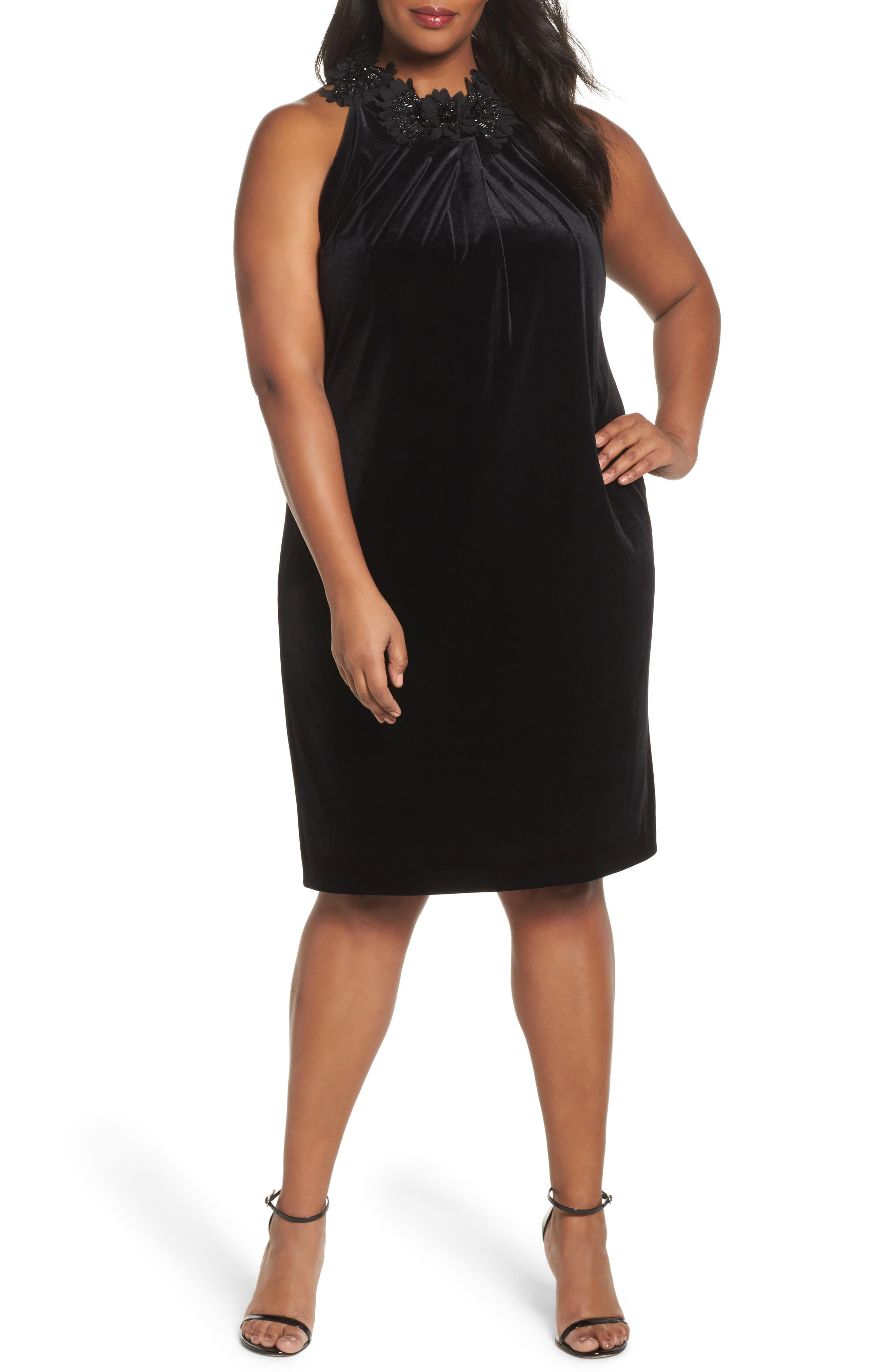 Embellished Velvet Shift Dress,                             Main thumbnail 1, color,                             Black