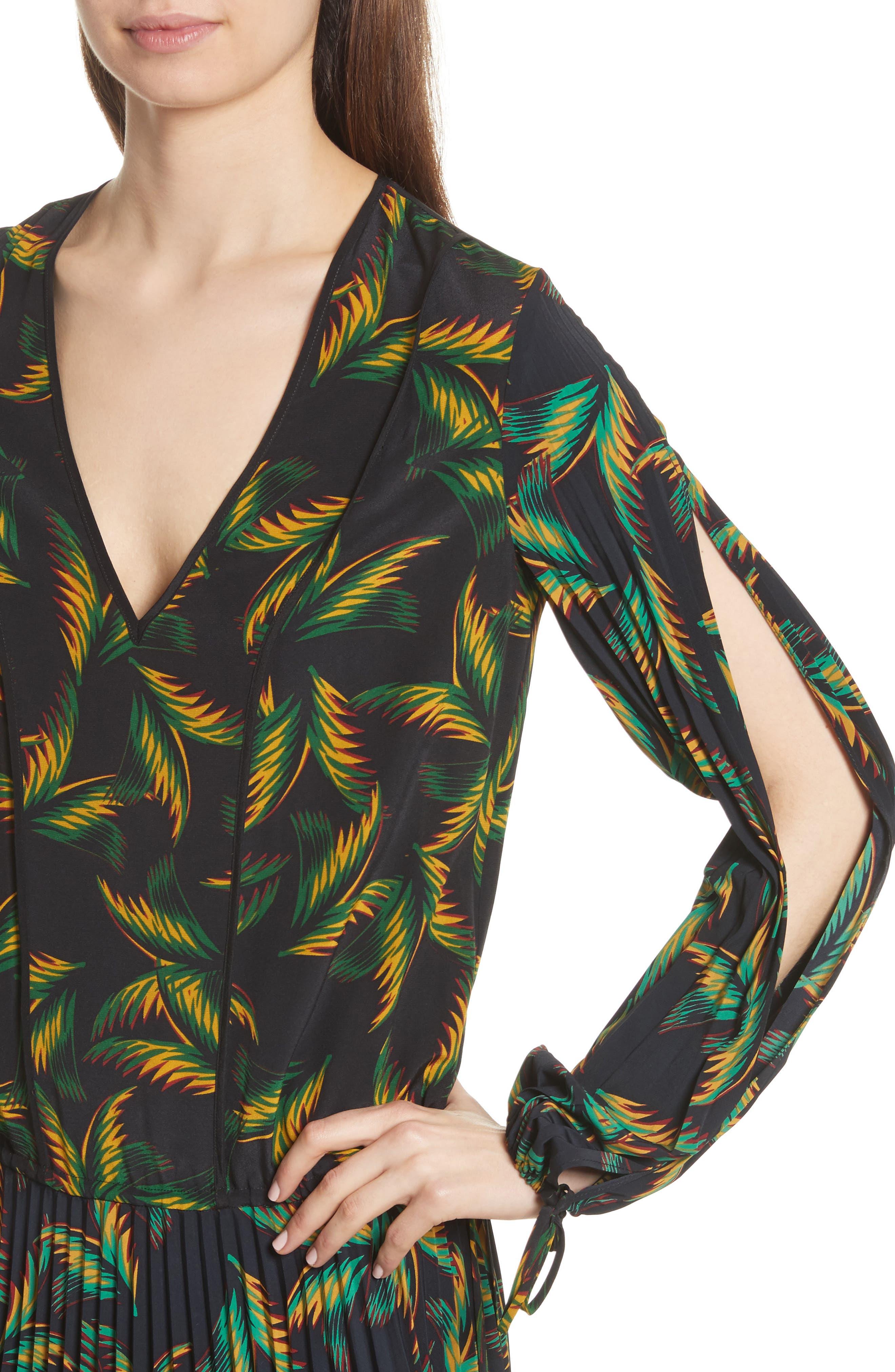 Brooks Pleated Silk Midi Dress,                             Alternate thumbnail 4, color,                             Black