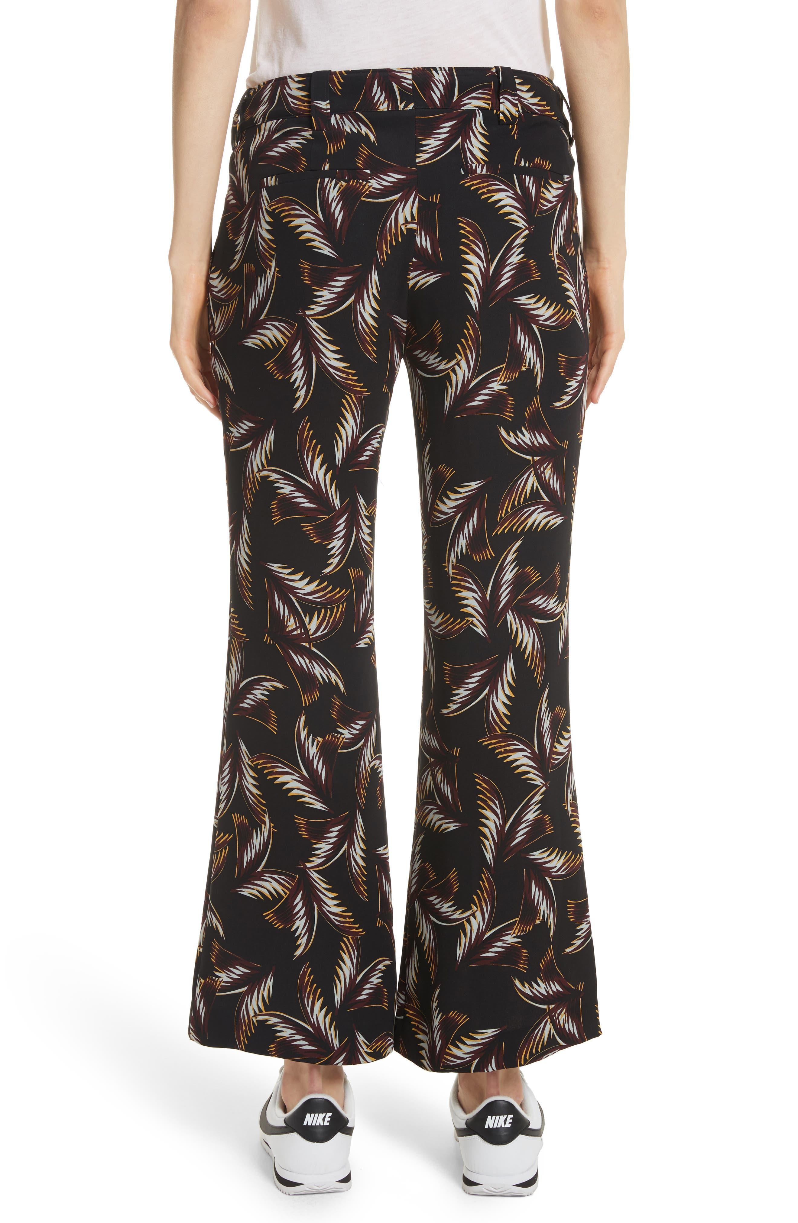 Felix Print Silk Crop Flare Pants,                             Alternate thumbnail 3, color,                             Black