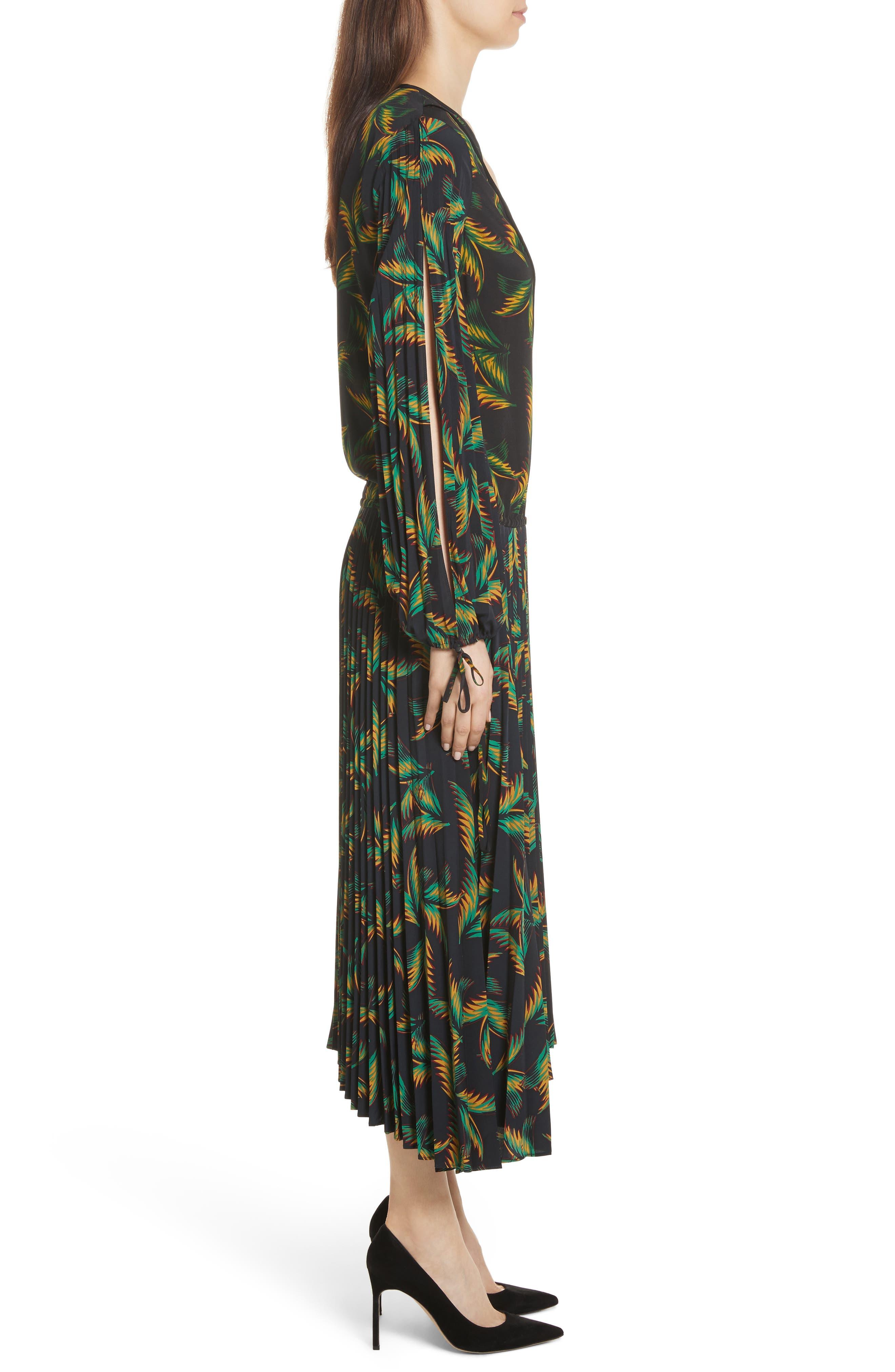 Brooks Pleated Silk Midi Dress,                             Alternate thumbnail 3, color,                             Black