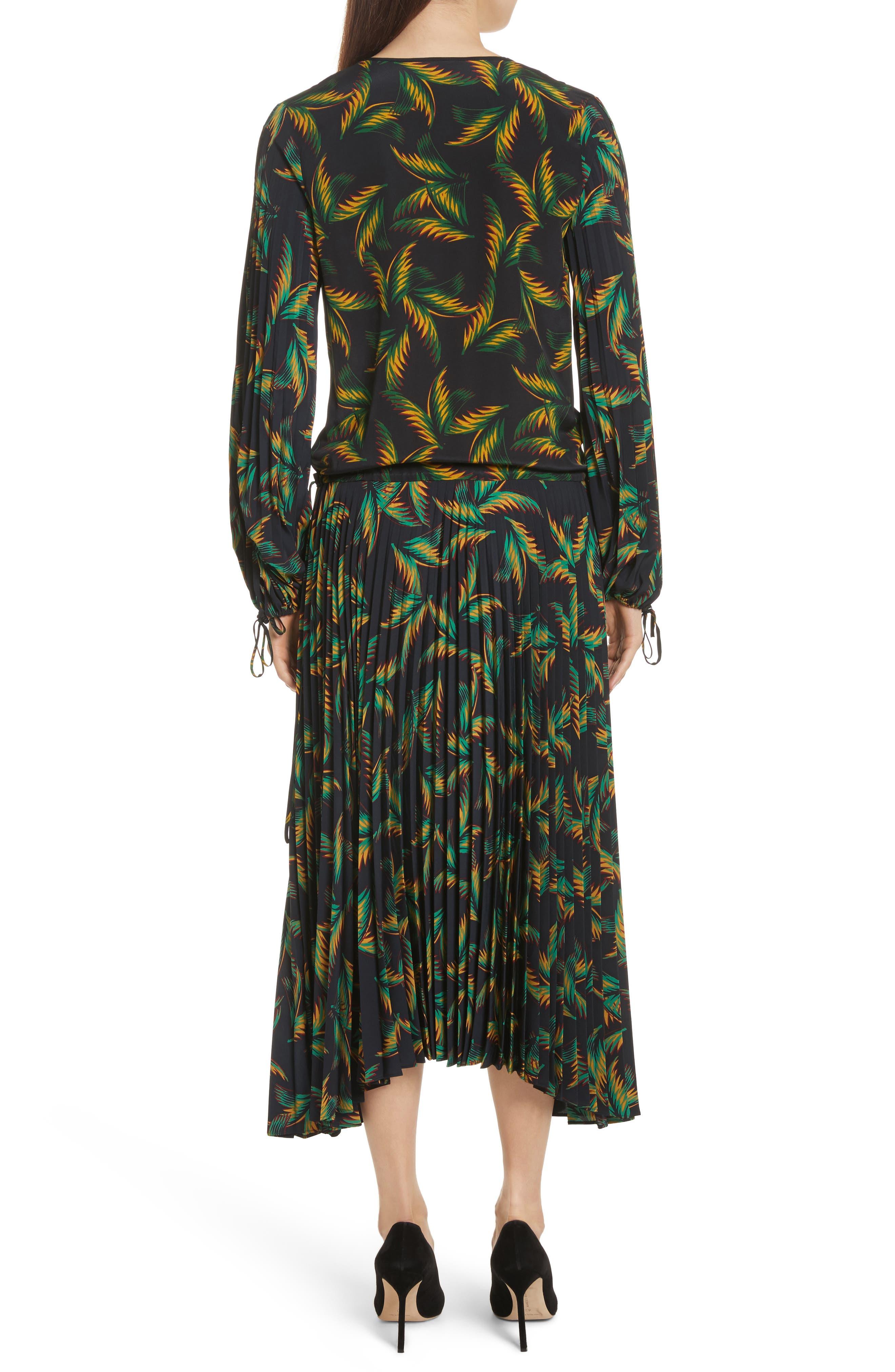 Brooks Pleated Silk Midi Dress,                             Alternate thumbnail 2, color,                             Black