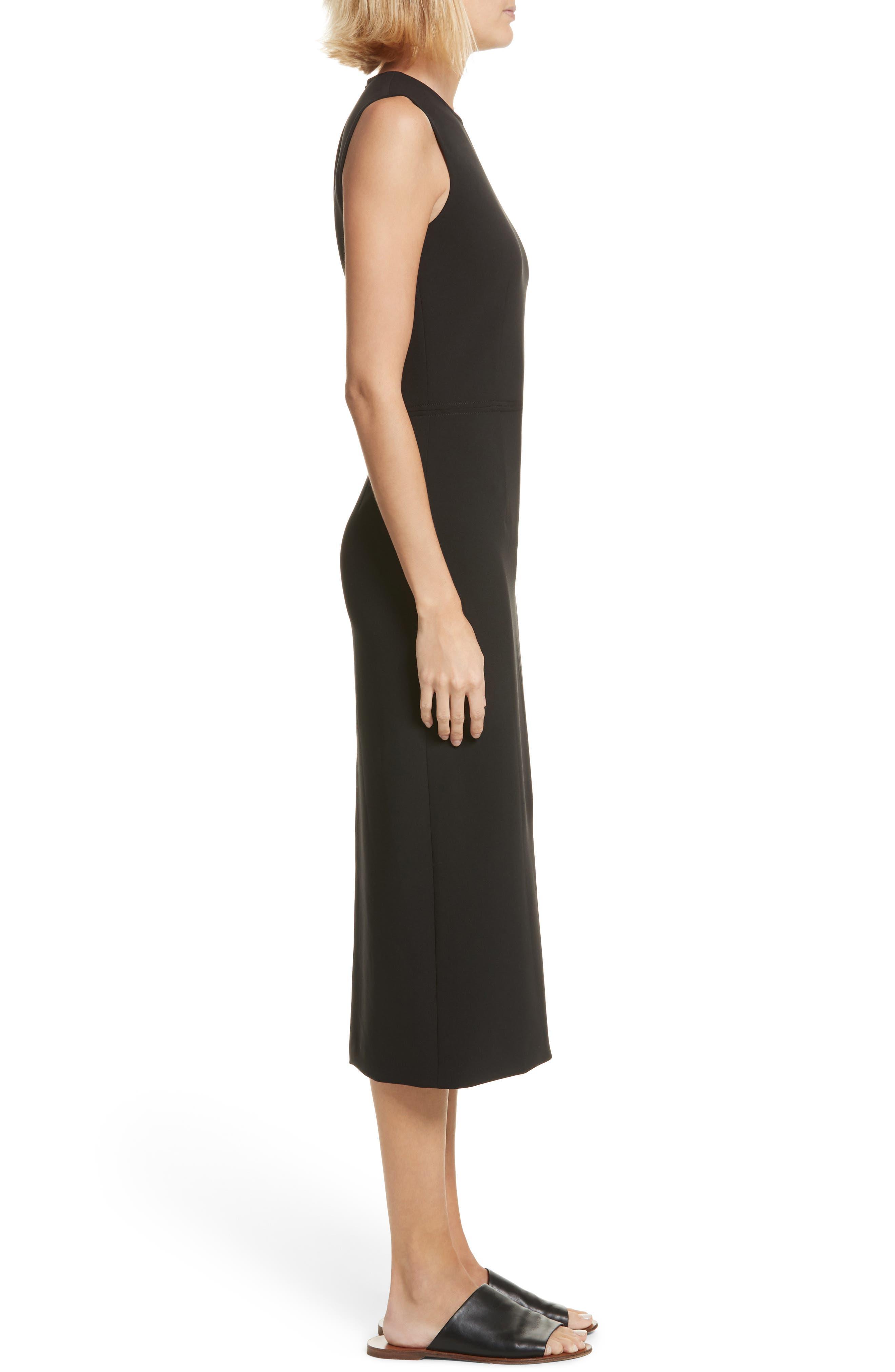 Sabine Stretch Cady Sheath Dress,                             Alternate thumbnail 3, color,                             Black