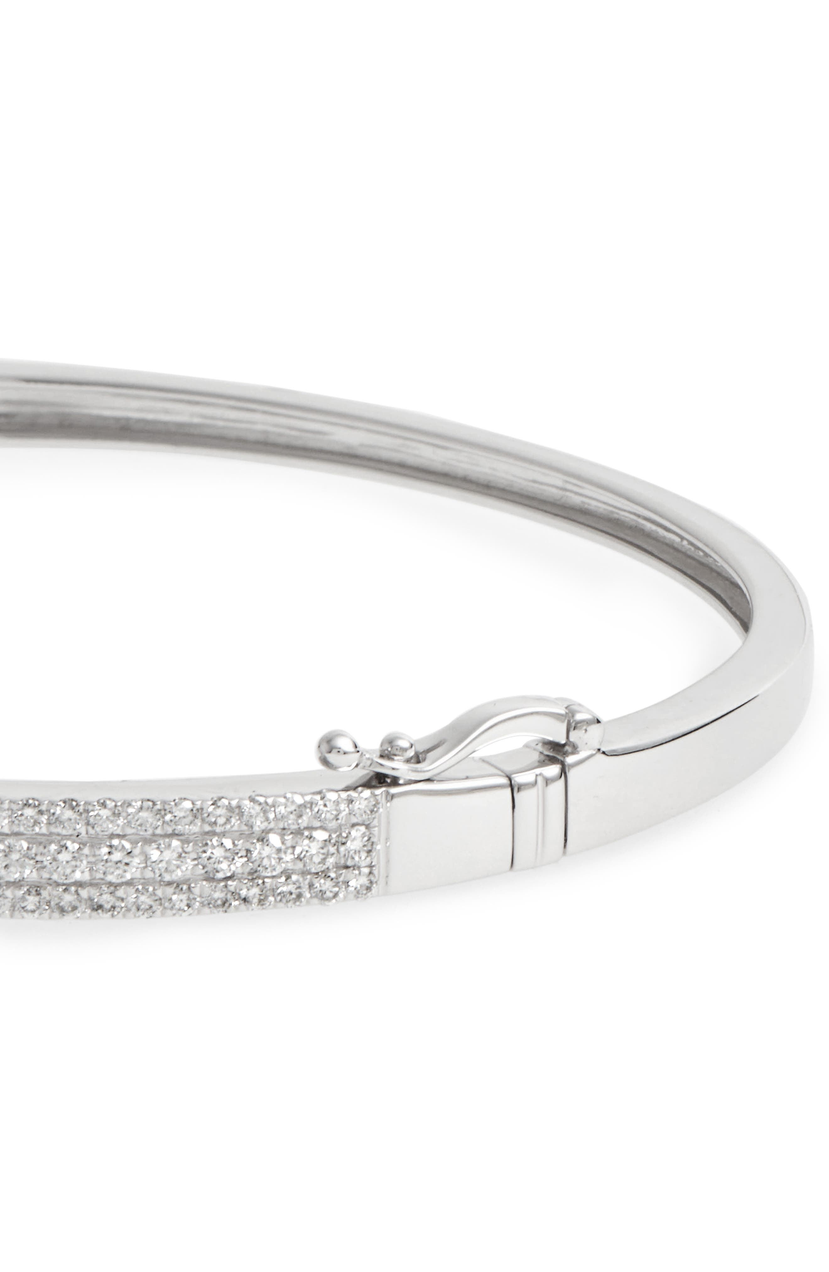 Amara Diamond Hinge Bangle,                             Alternate thumbnail 4, color,                             White Gold