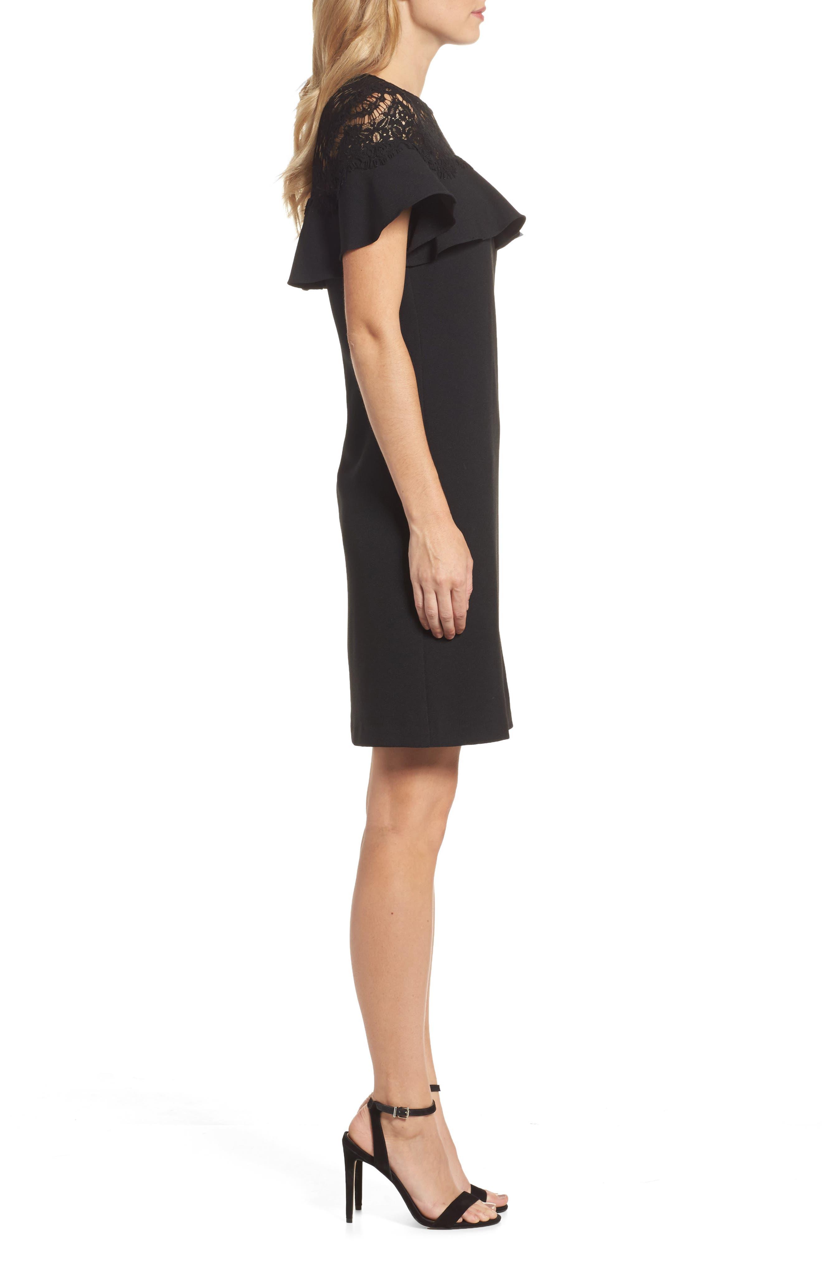 Lace Ruffle Sheath Dress,                             Alternate thumbnail 3, color,                             Black