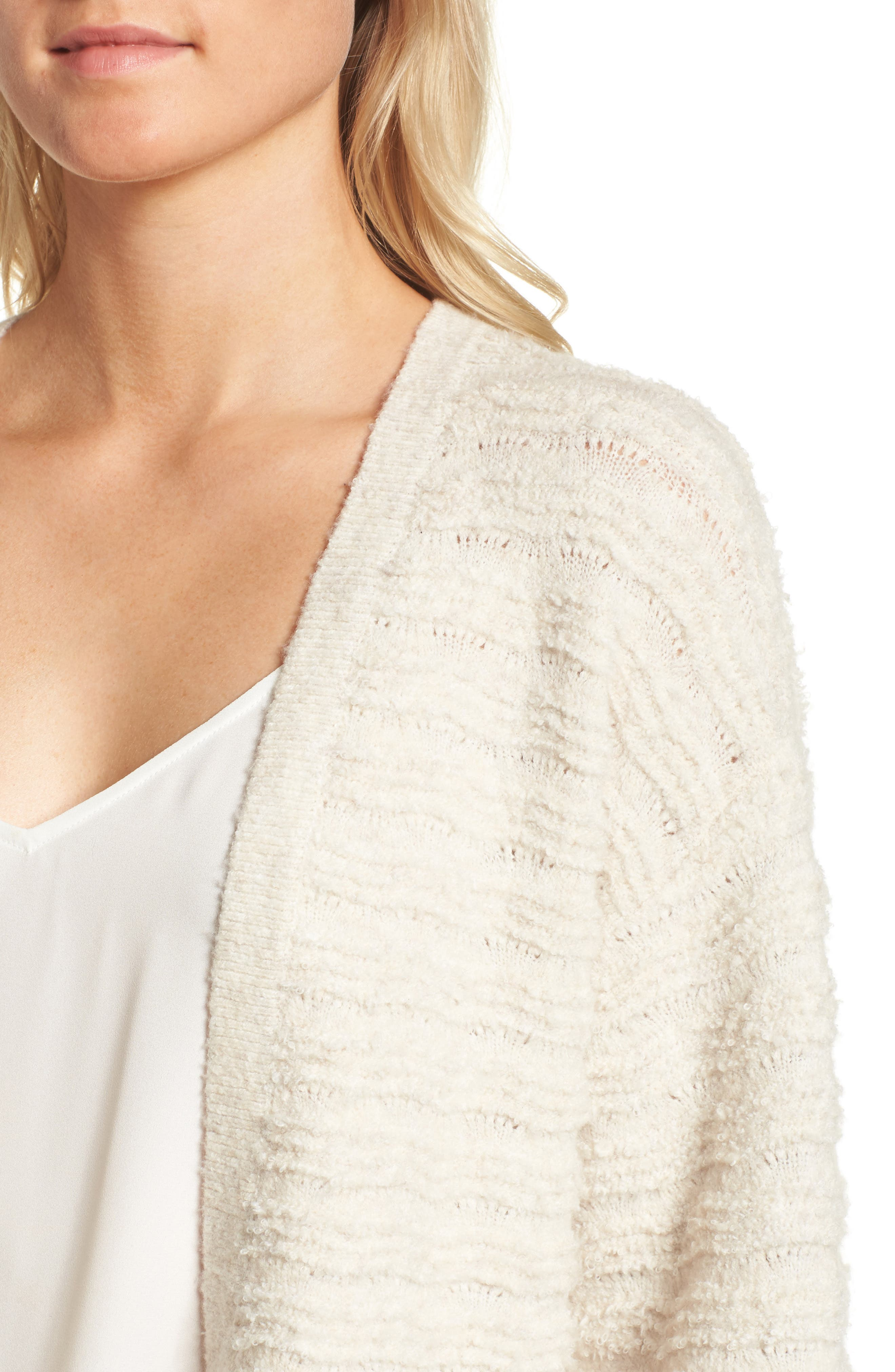 Cozy Stitch Cardigan,                             Alternate thumbnail 4, color,                             Beige Oatmeal Light Heather