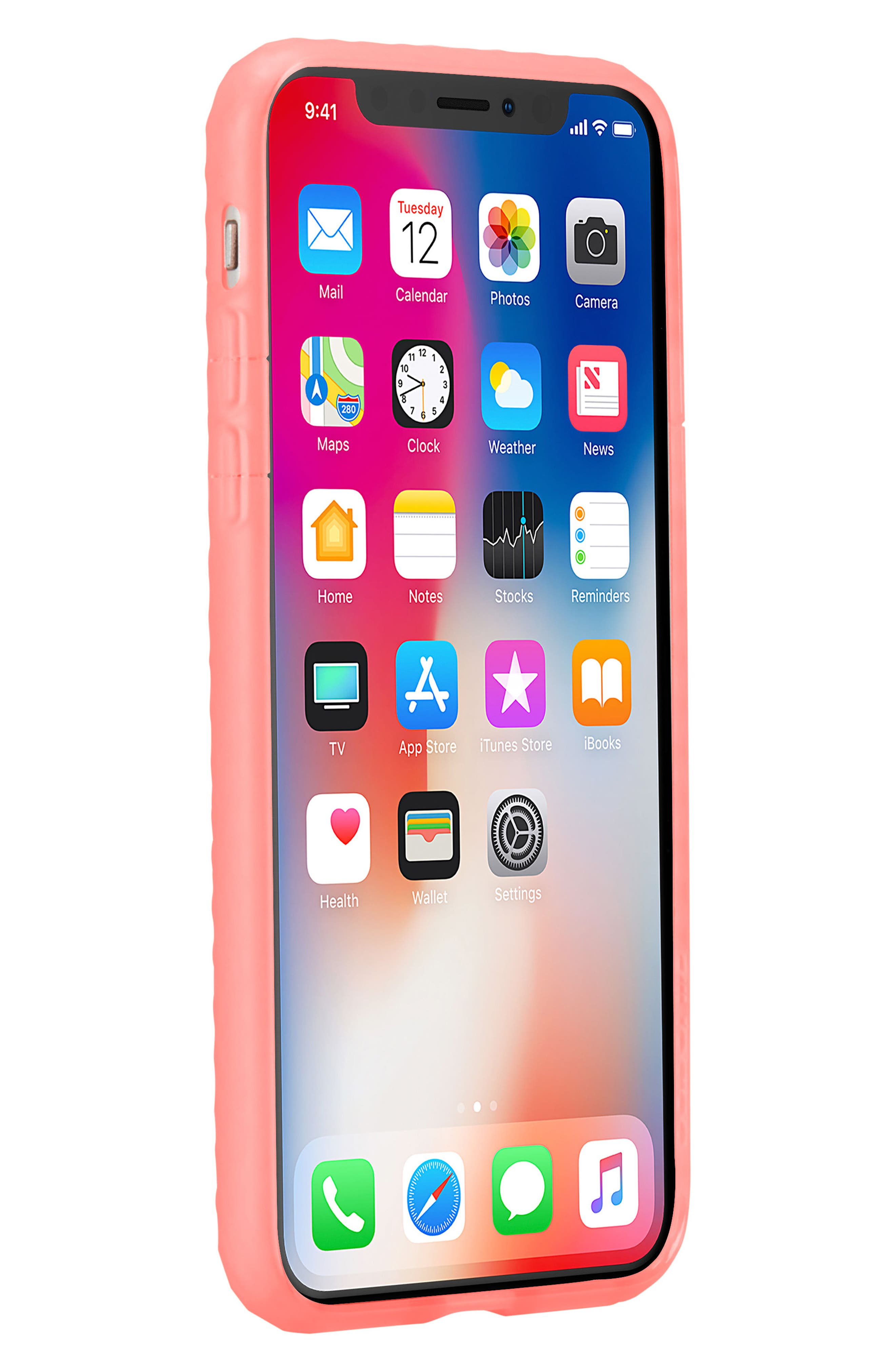 Protective Lattice iPhone X Case,                             Alternate thumbnail 6, color,                             Coral