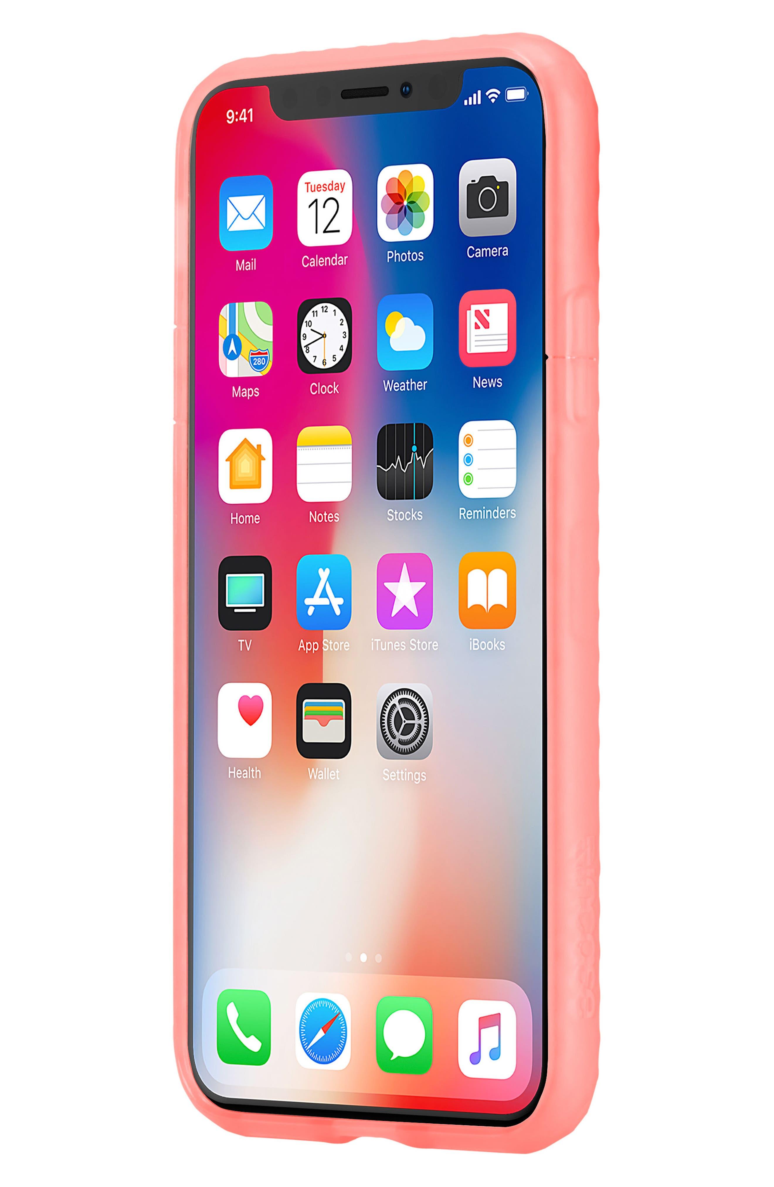 Protective Lattice iPhone X Case,                             Alternate thumbnail 7, color,                             Coral