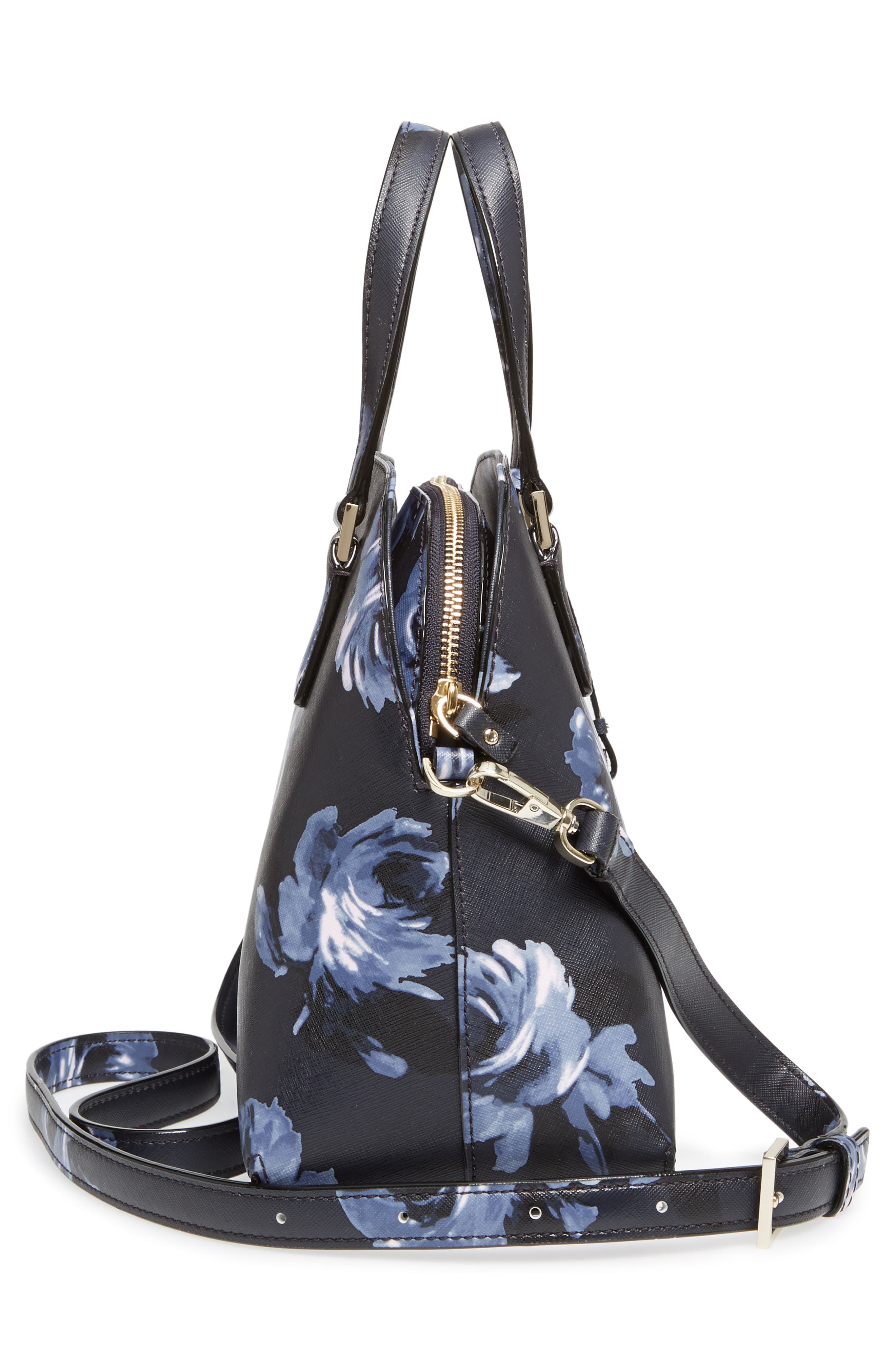 cameron street lottie floral faux leather satchel,                             Alternate thumbnail 5, color,                             Rich Navy Multi