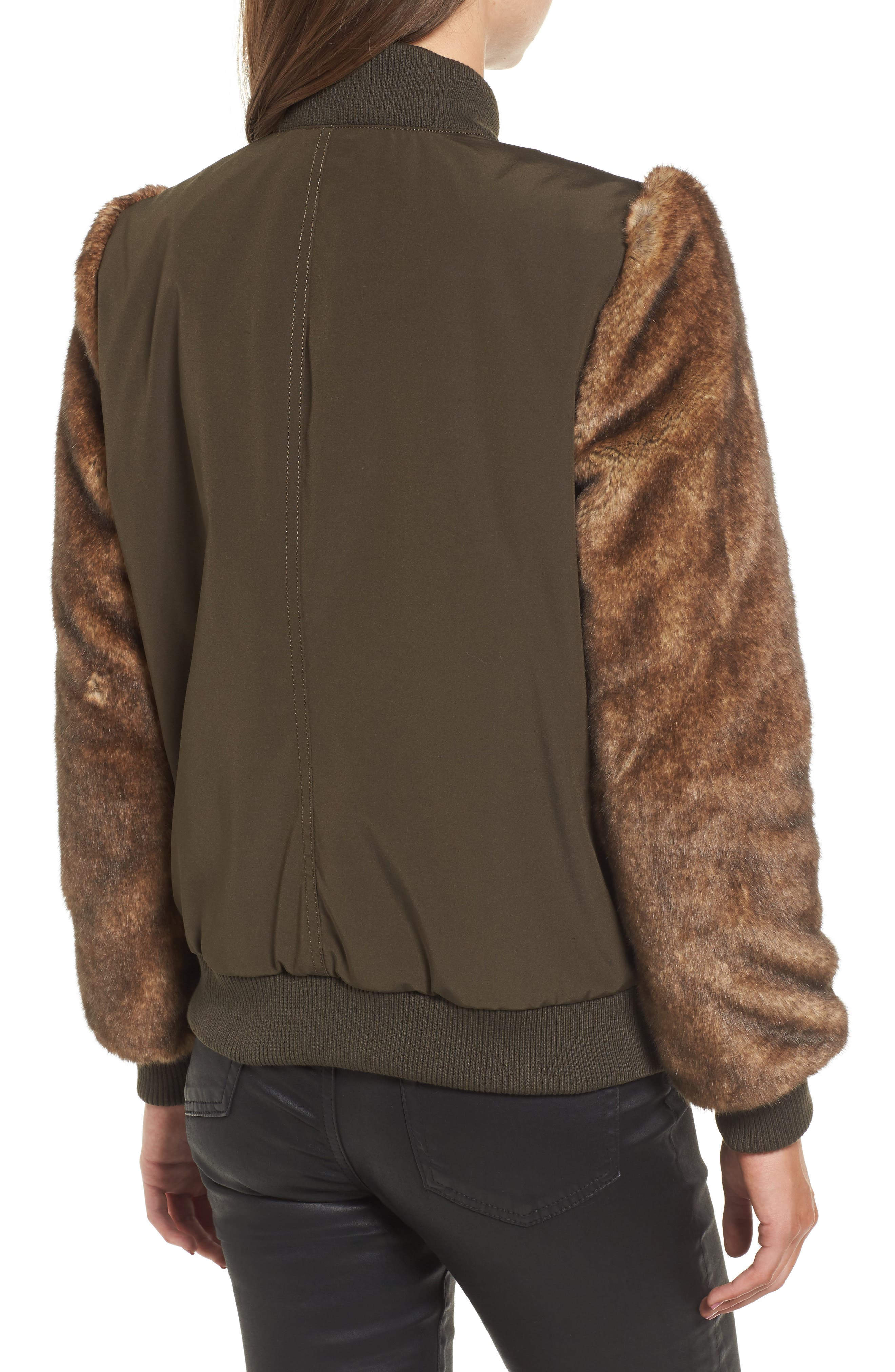 Faux Fur Sleeve Bomber Jacket,                             Alternate thumbnail 2, color,                             Army Green