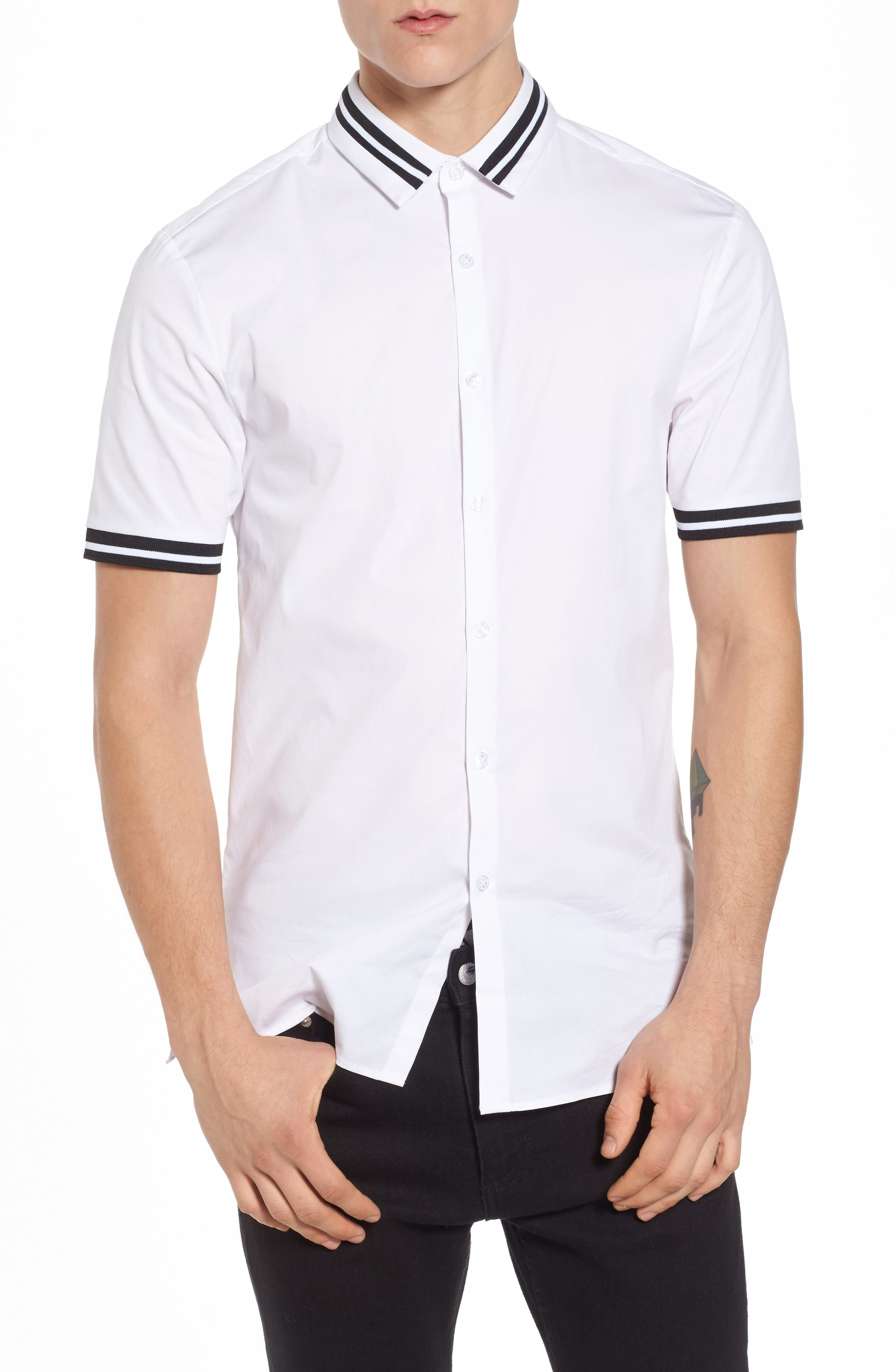 Topman Muscle Fit Stripe Tipped Shirt