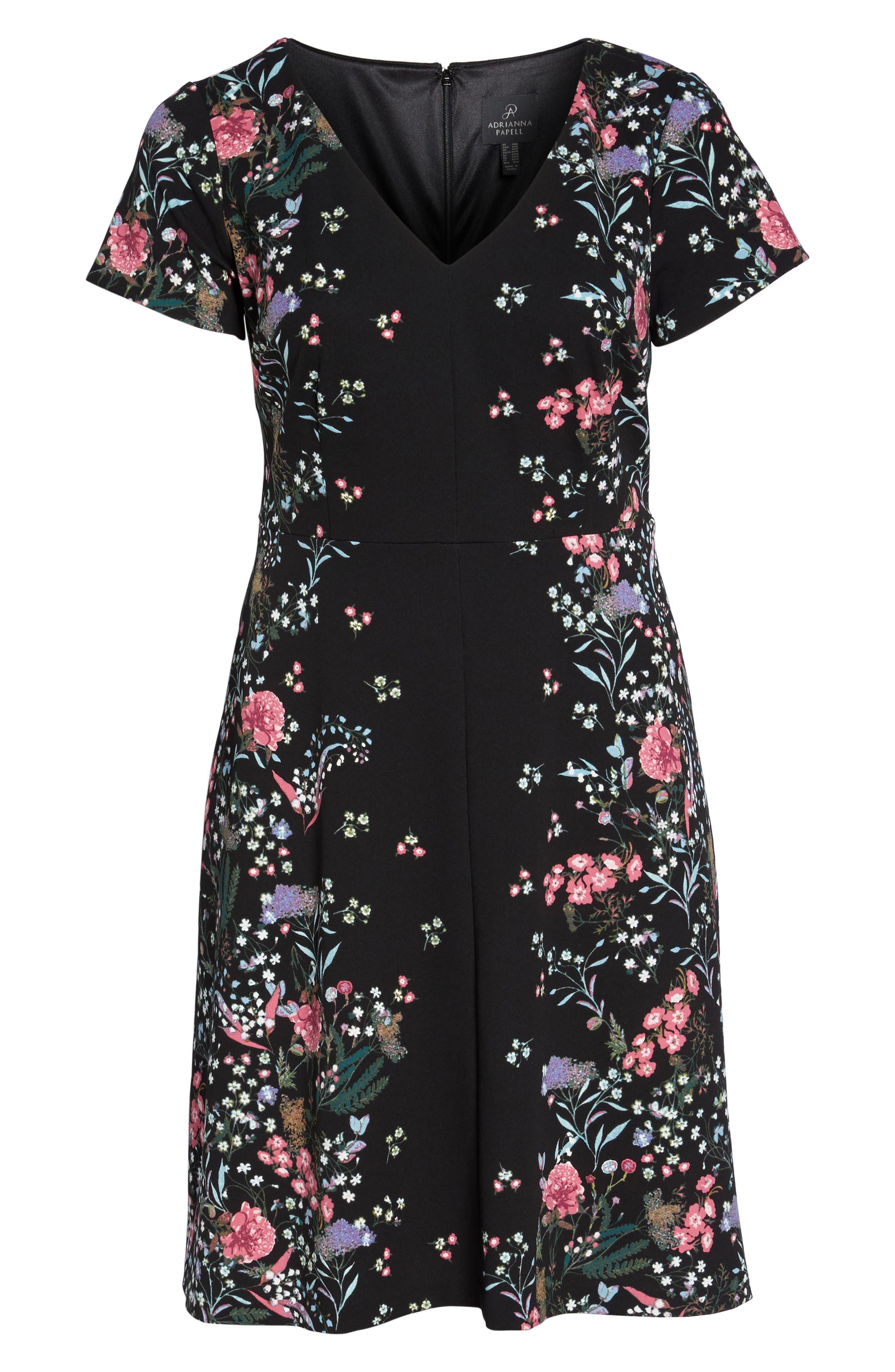 Print Scuba Knit Fit & Flare Dress,                             Alternate thumbnail 6, color,                             Black Multi