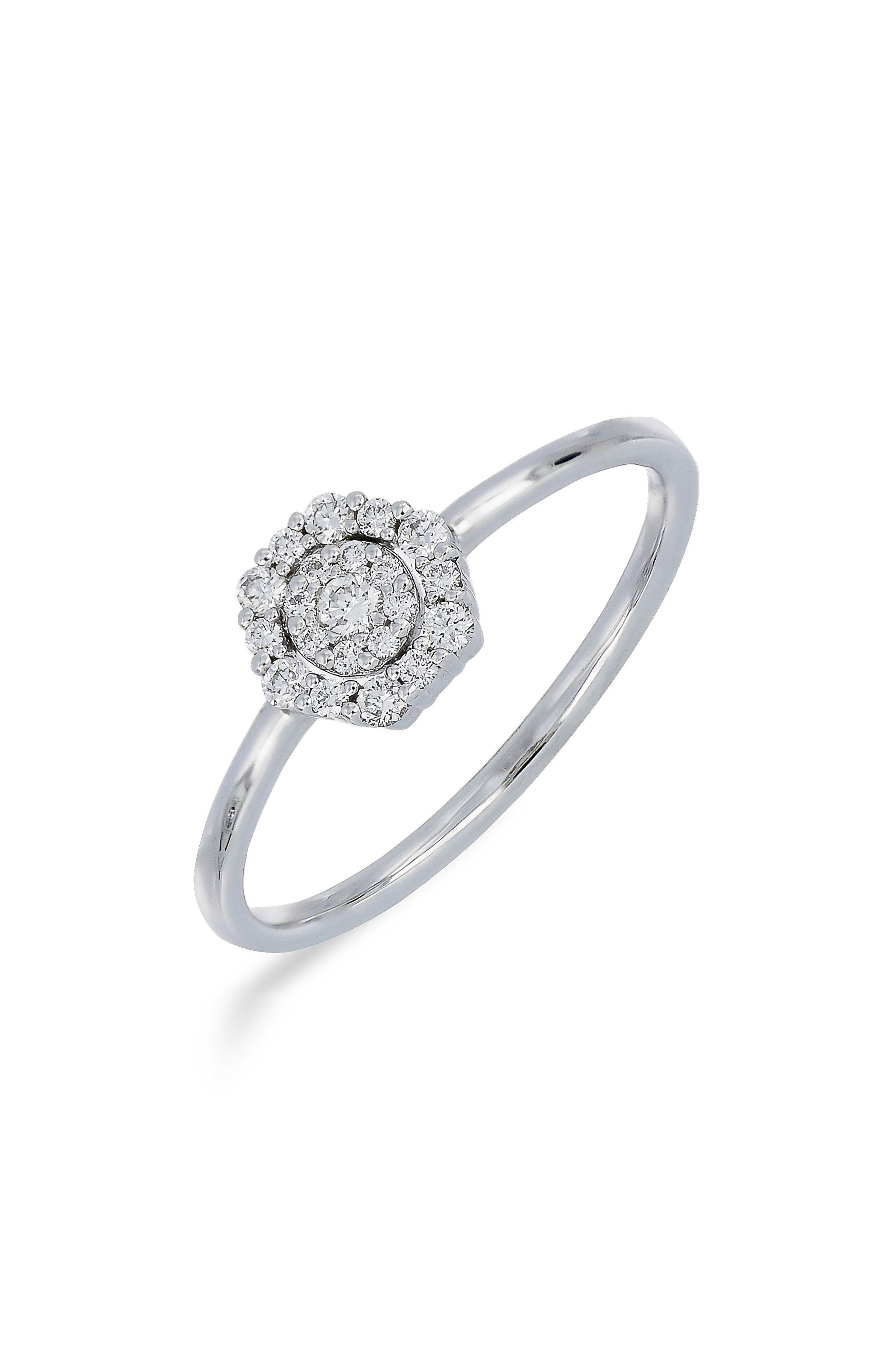 Diamond Cluster Ring,                         Main,                         color, White Gold