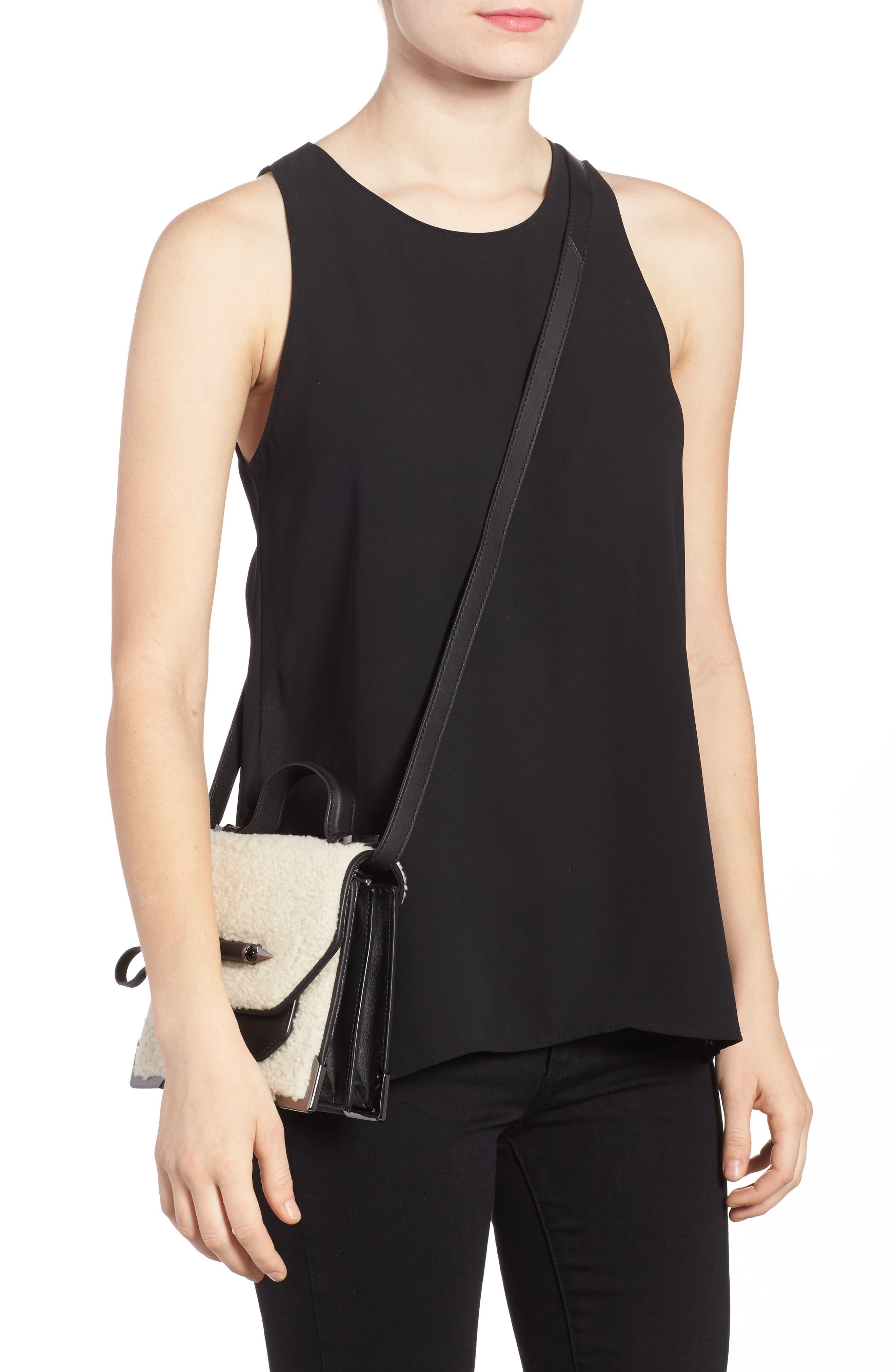 Mini Rubie Genuine Shearling Crossbody Bag,                             Alternate thumbnail 2, color,                             Black/ Cream