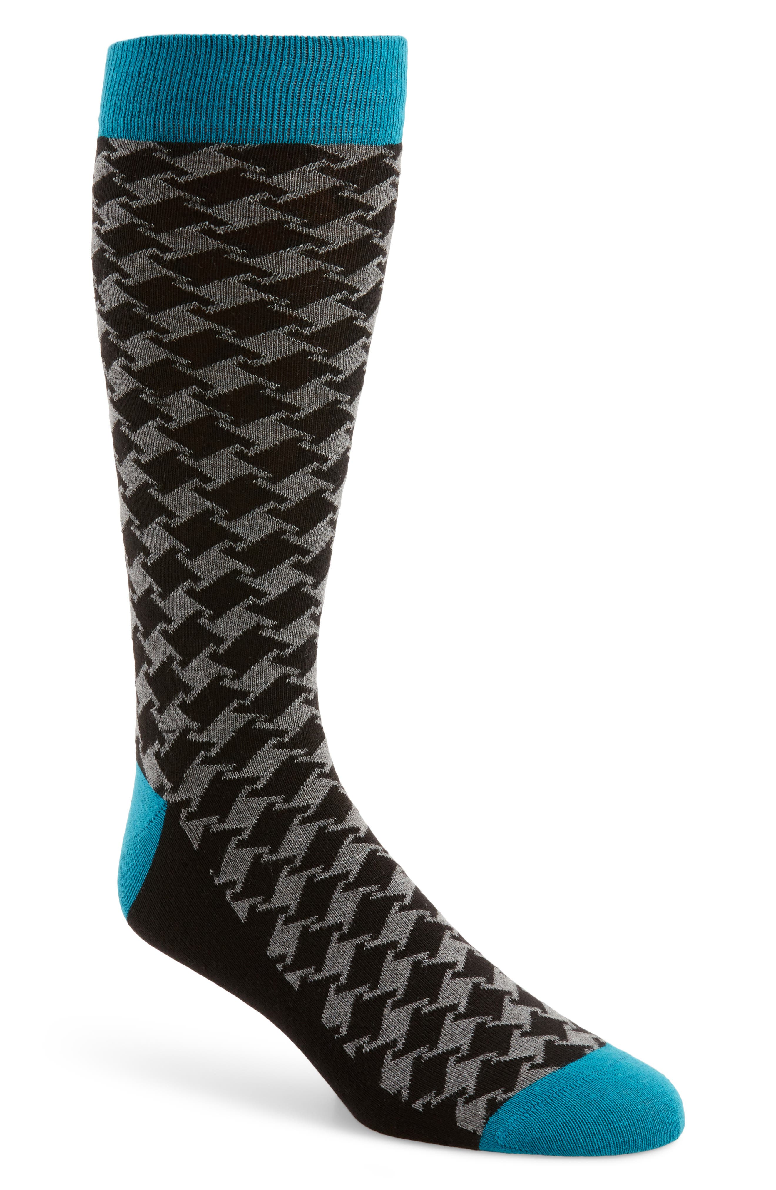 Houndstooth Socks,                         Main,                         color, Teal