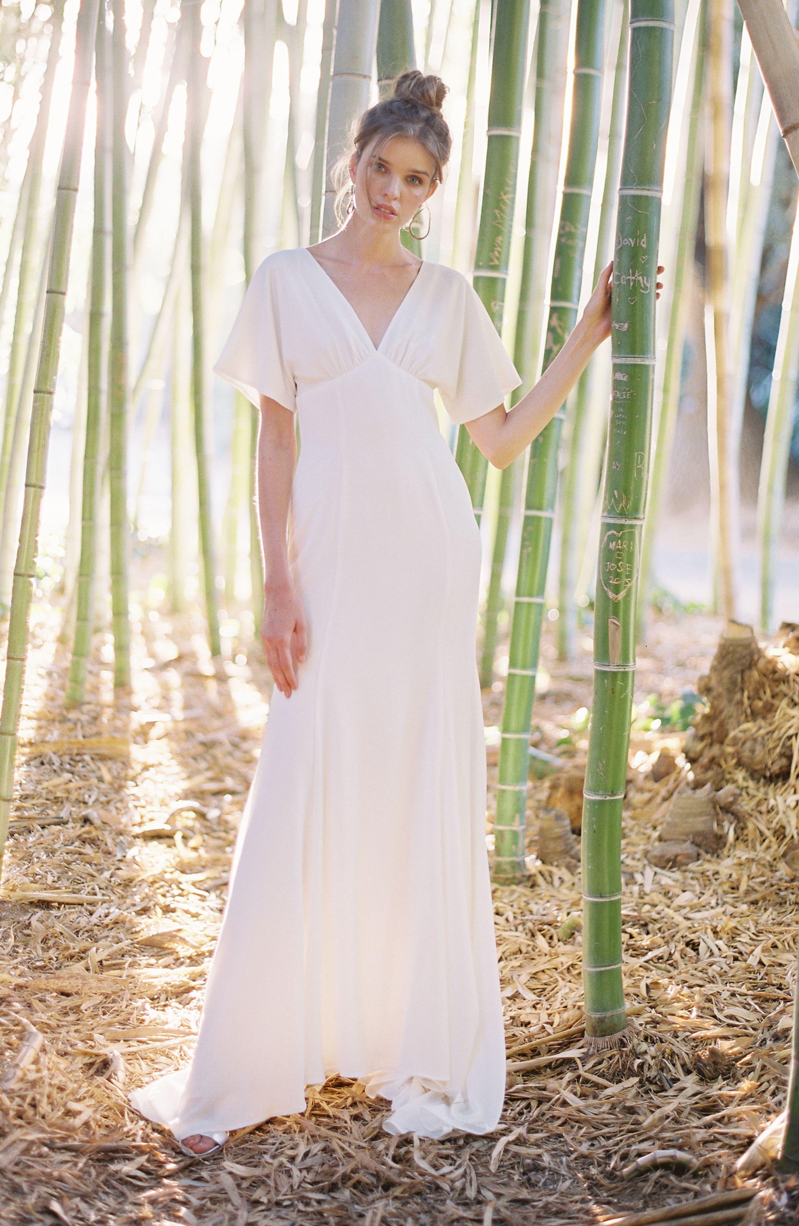 Empire Waist Crepe Gown,                             Alternate thumbnail 6, color,                             White
