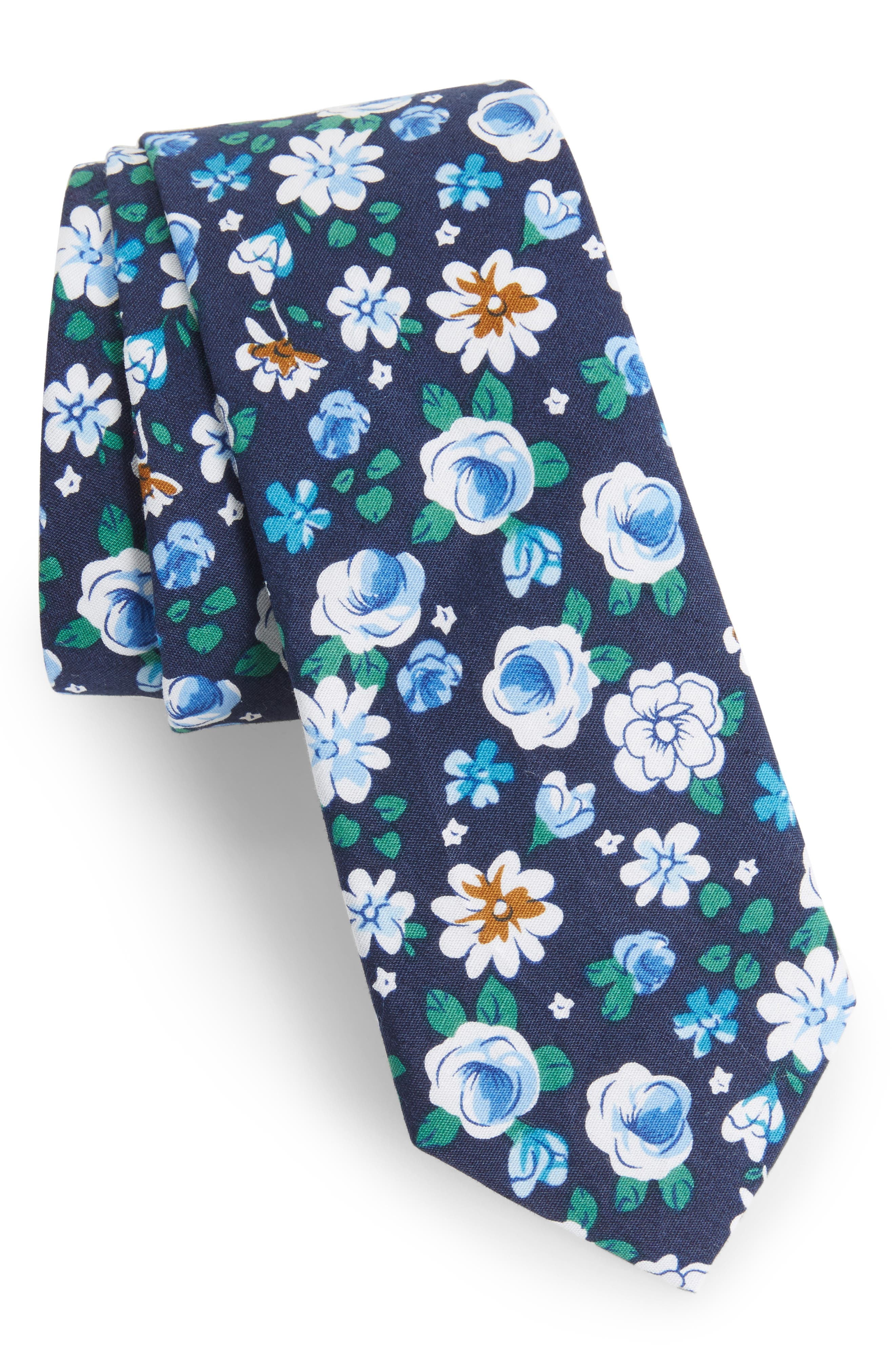 Frenso Floral Cotton Skinny Tie,                             Main thumbnail 1, color,                             Blue